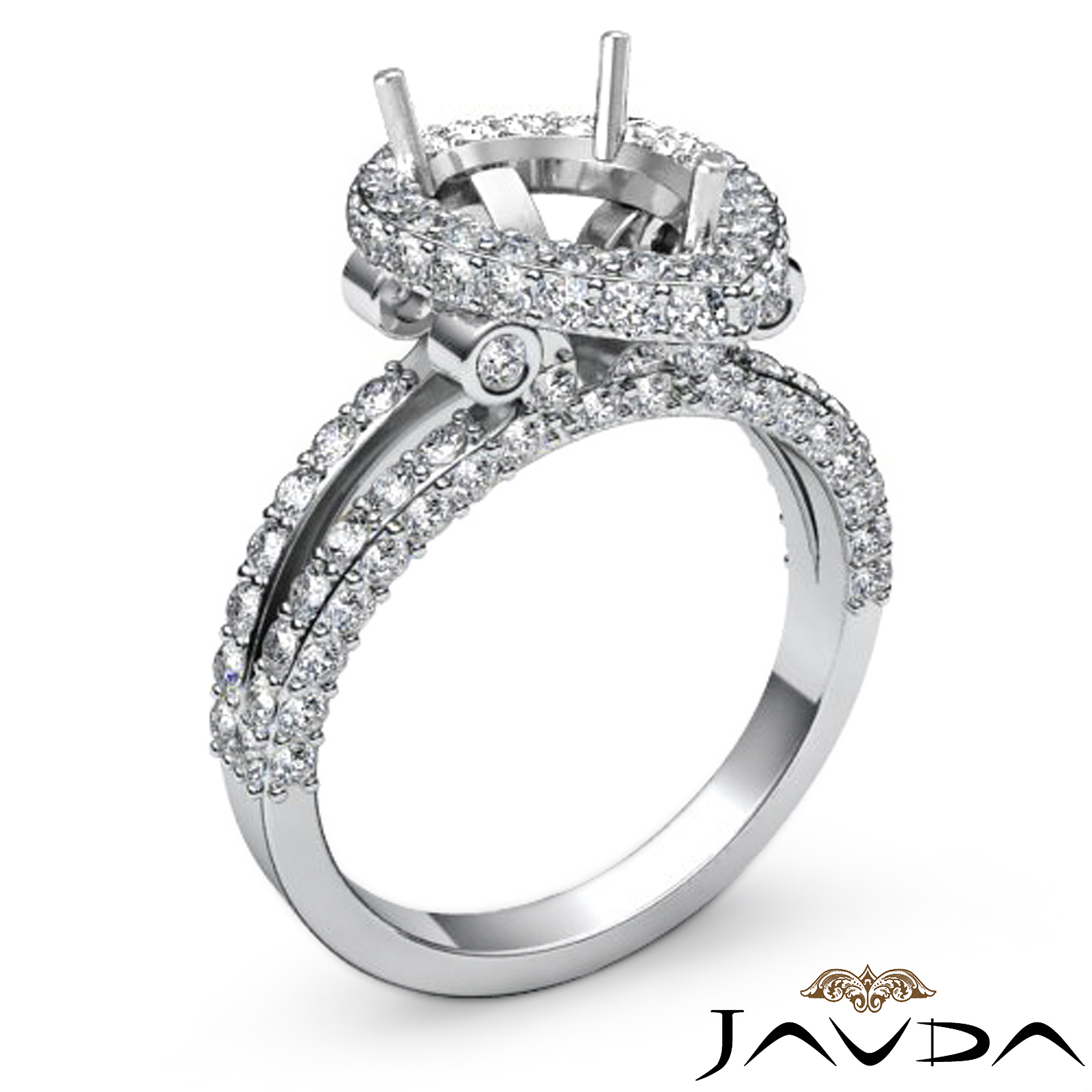 Pear Shape Semi Mount Diamond Engagement Pave Pre Set Ring Platinum 950 1 52C