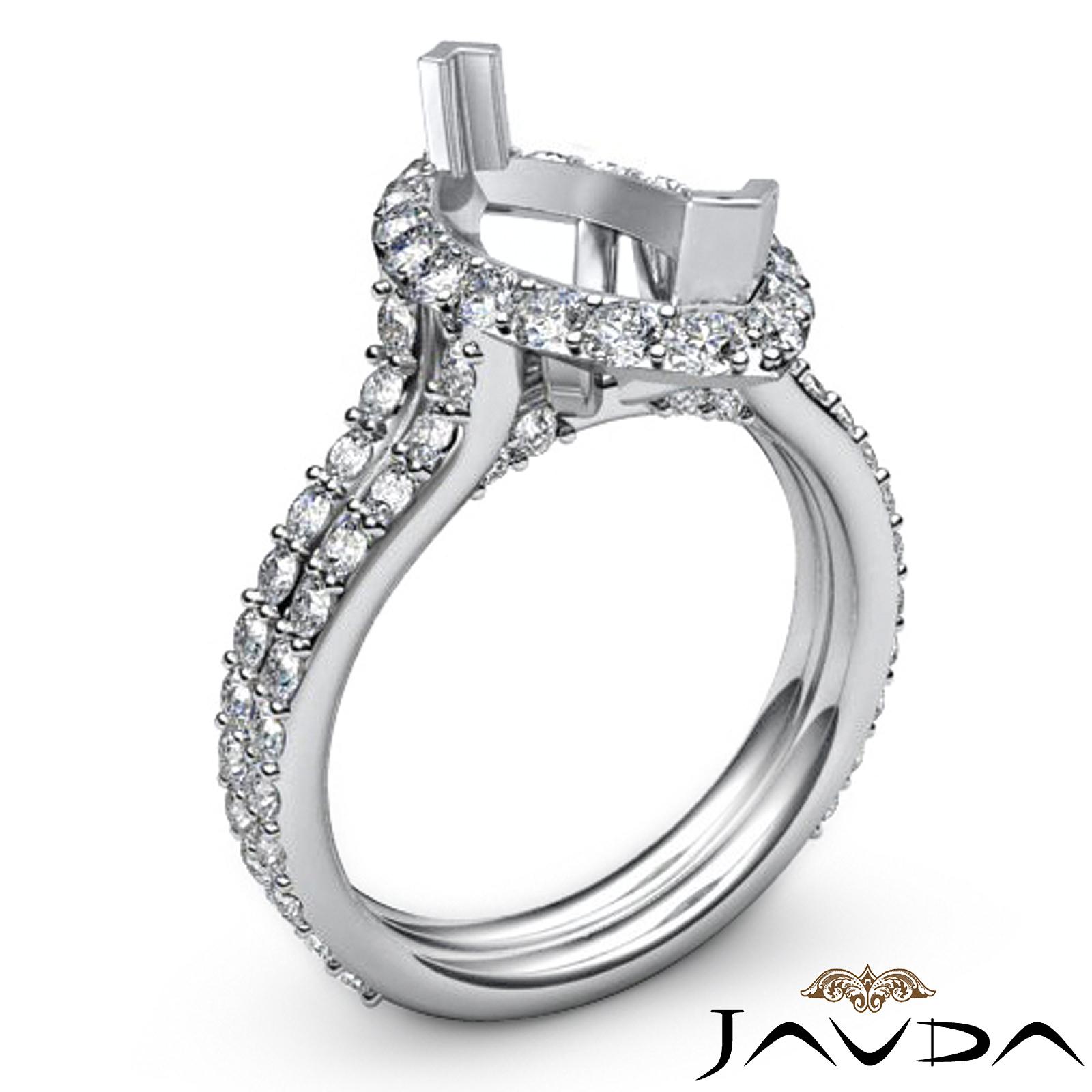Halo Setting Diamond Engagement Ring Marquise Semi Mount 18k White Gold 1 36Ct