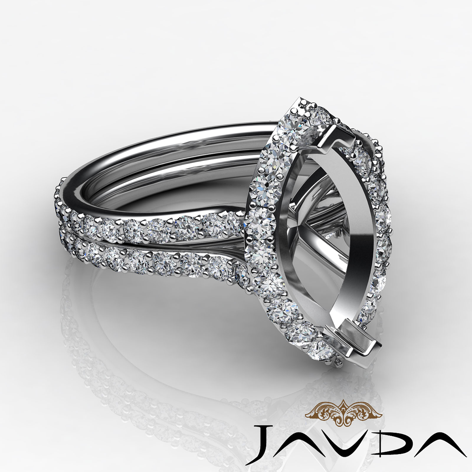 halo setting diamond engagement ring marquise semi mount. Black Bedroom Furniture Sets. Home Design Ideas