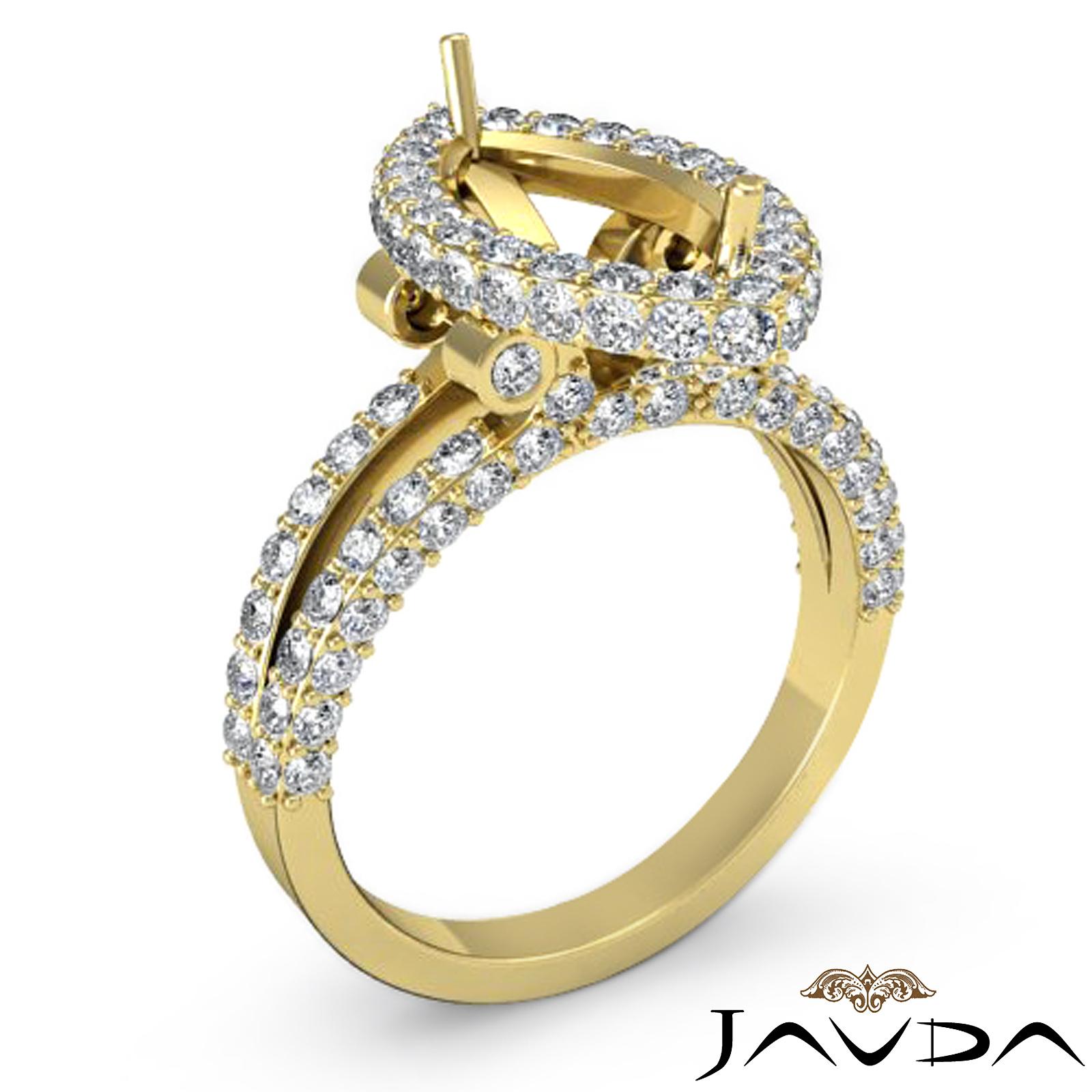 Halo Set Diamond Engagement Marquise Shape Semi Mount Ring