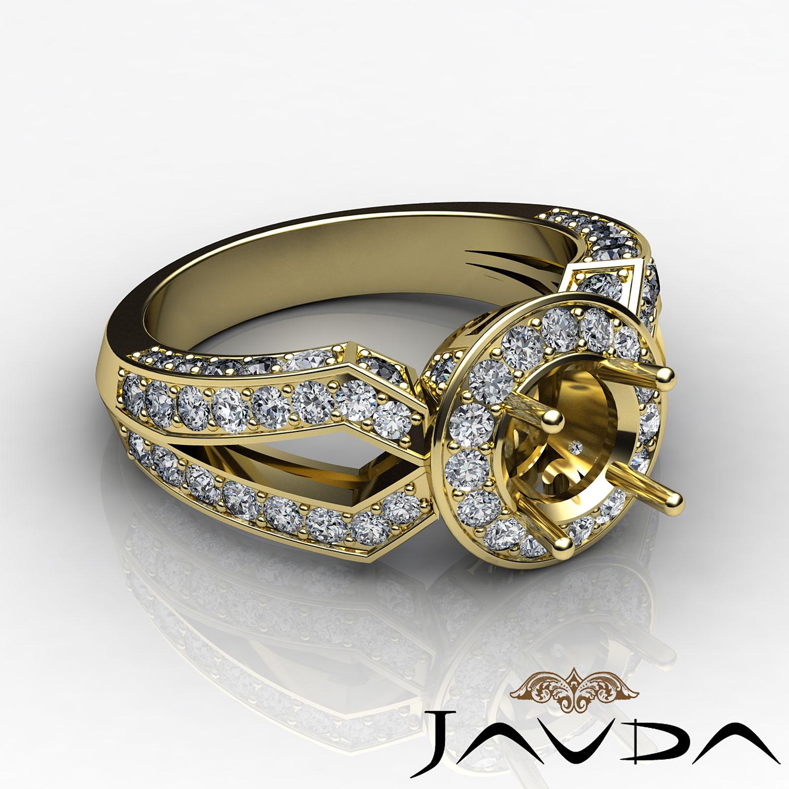 Diamond Engagement Filigree Ring Round Shape Semi Mount ...