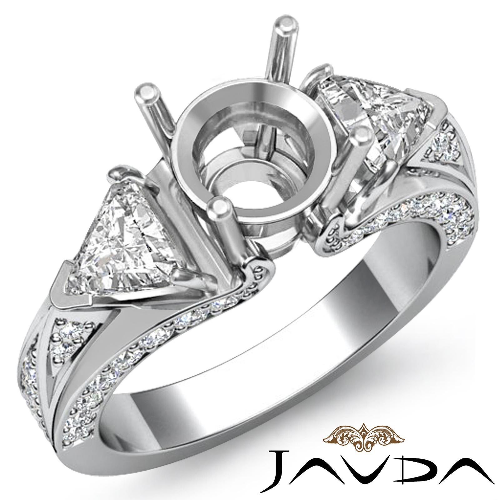 Trillion Round Diamond 3 Stone Semi Mount Engagement Ring