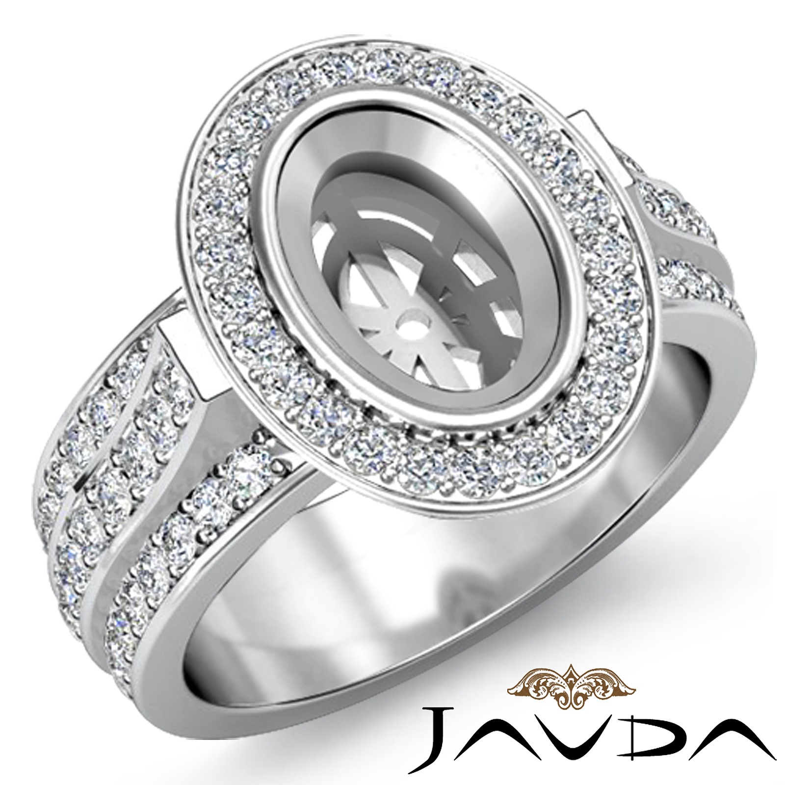 Diamond Engagement Halo Pave Setting Ring Oval Semi Mount 18k White Gold 1 65
