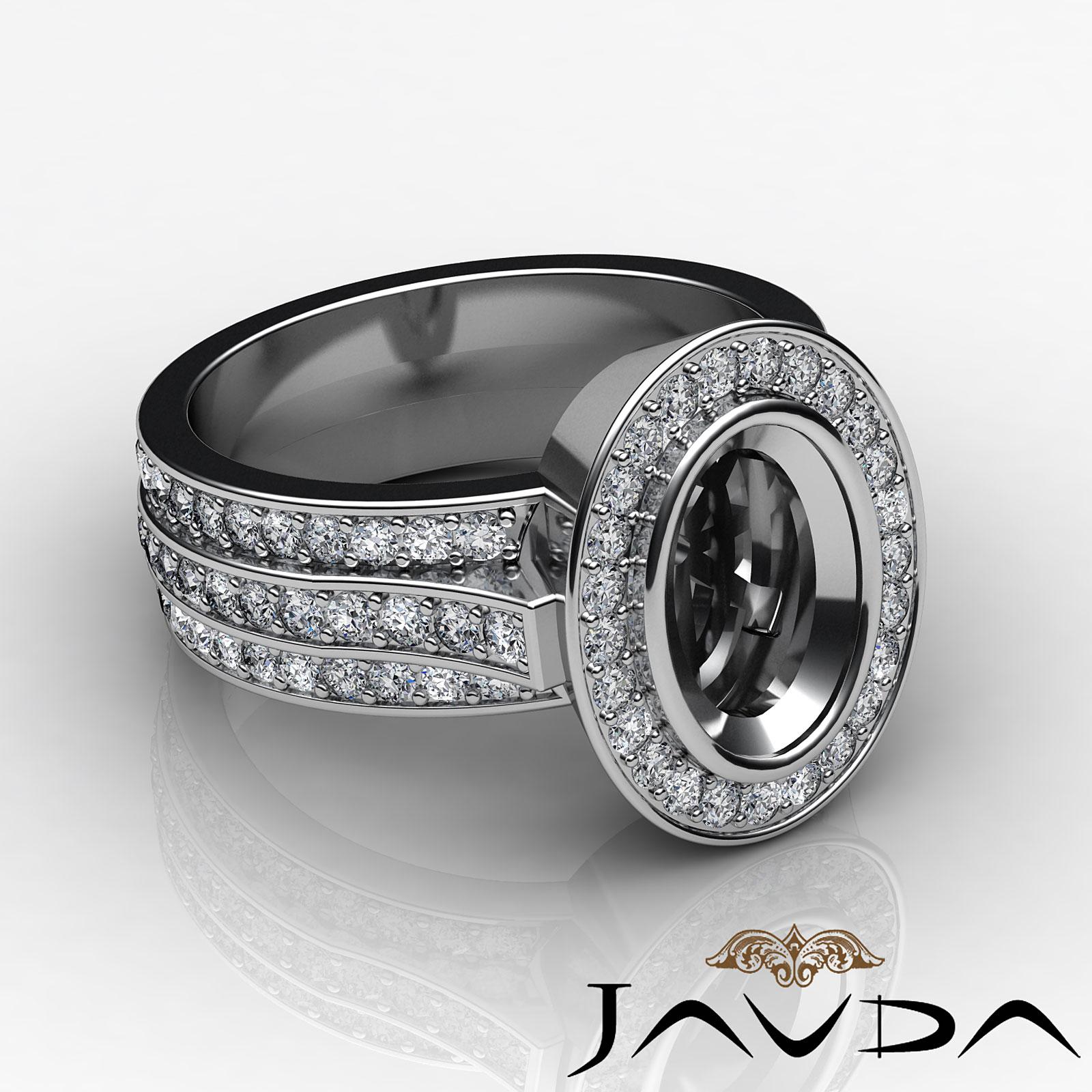 Diamond Engagement Halo Pave Setting Ring Oval Semi Mount