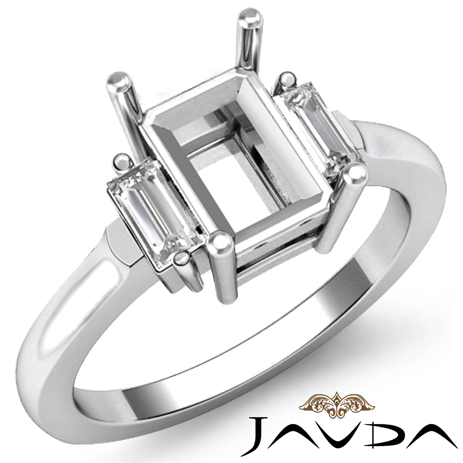 1//4ct Diamond Engagement Ring Setting 14k White Gold 4Prong Semi Mount Solitaire