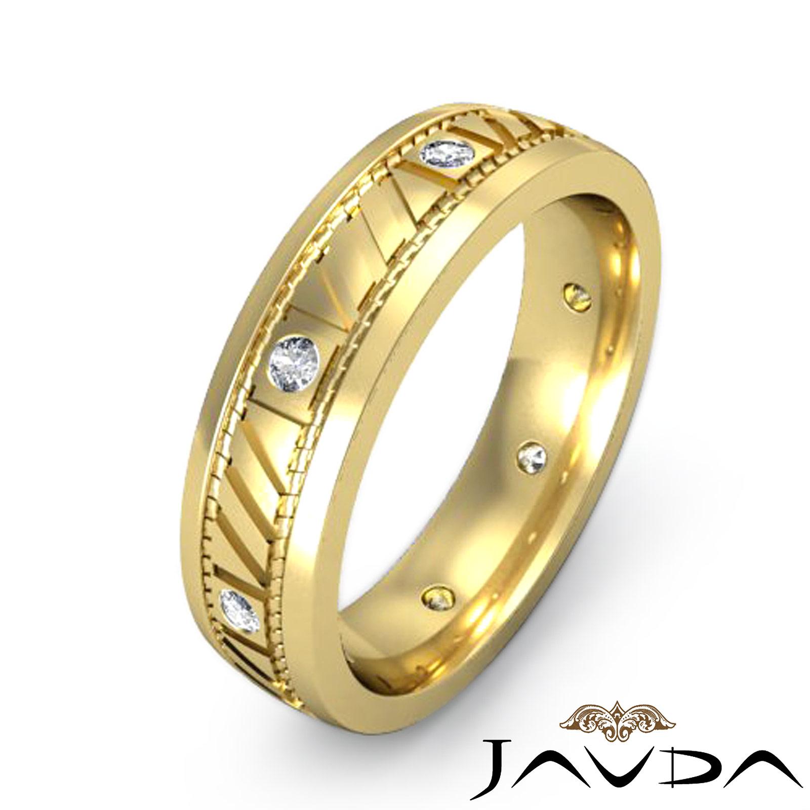 Mens solid ring eternity wedding bezel round diamond band for Mens eternity wedding band
