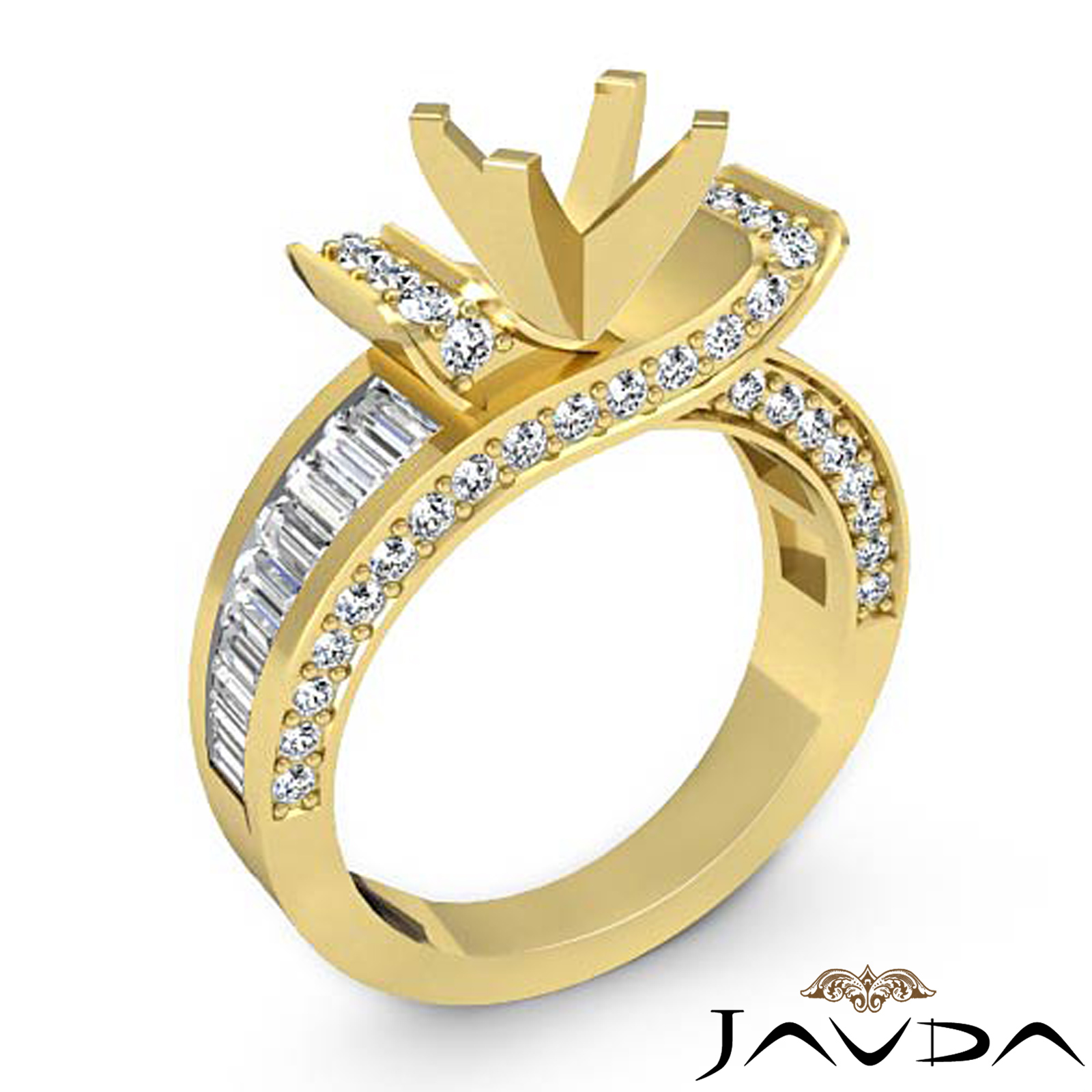 Round Baguette Diamond Engagement Antique Ring Setting 18k ...