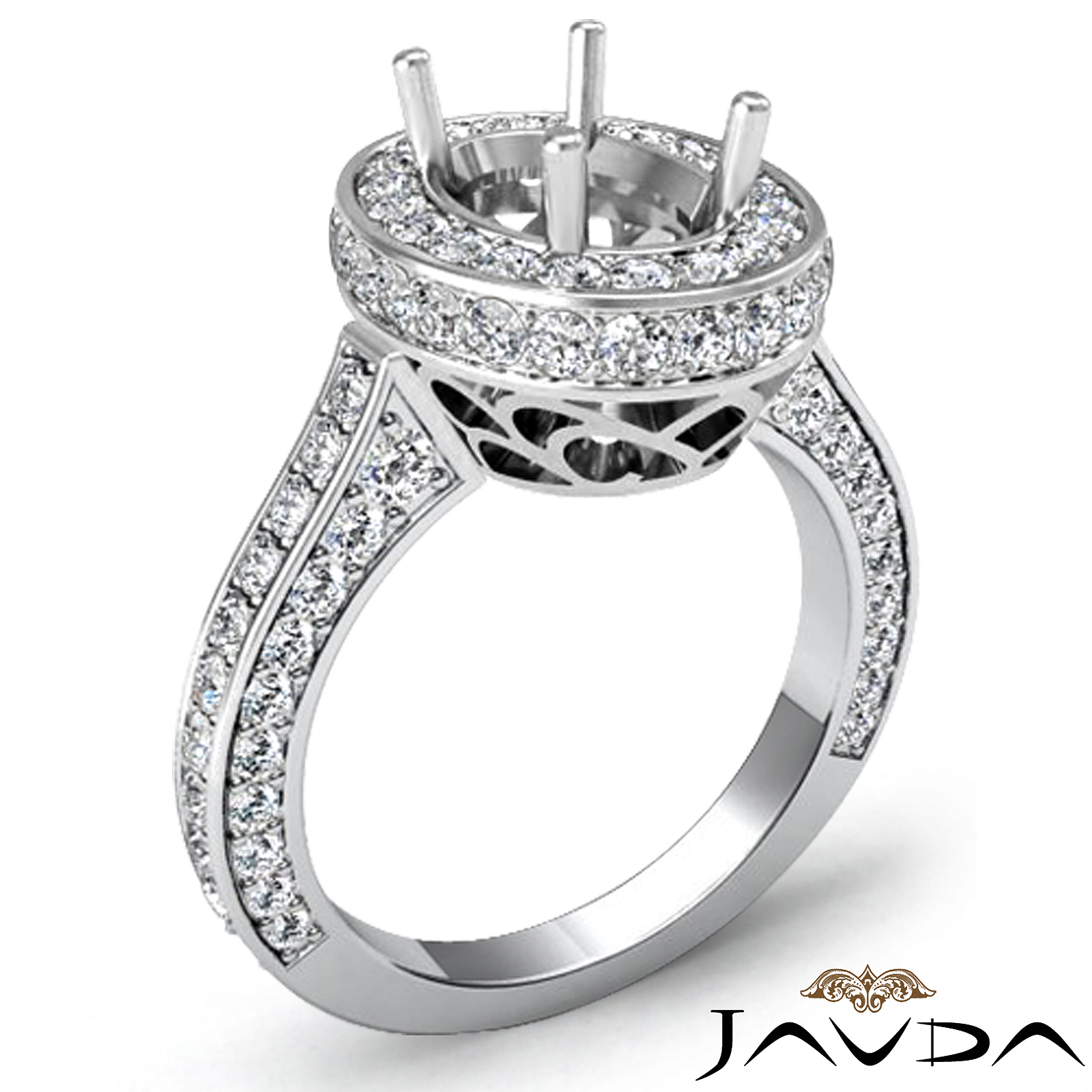 halo pave setting diamond engagement oval semi mount ring. Black Bedroom Furniture Sets. Home Design Ideas