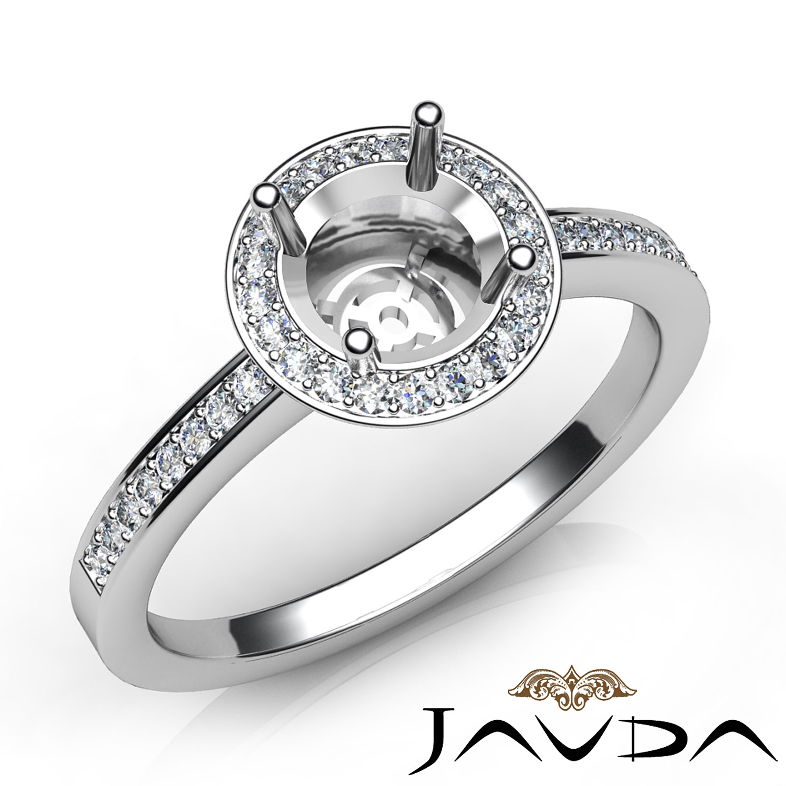 Halo pave set diamond engagement platinum round semi