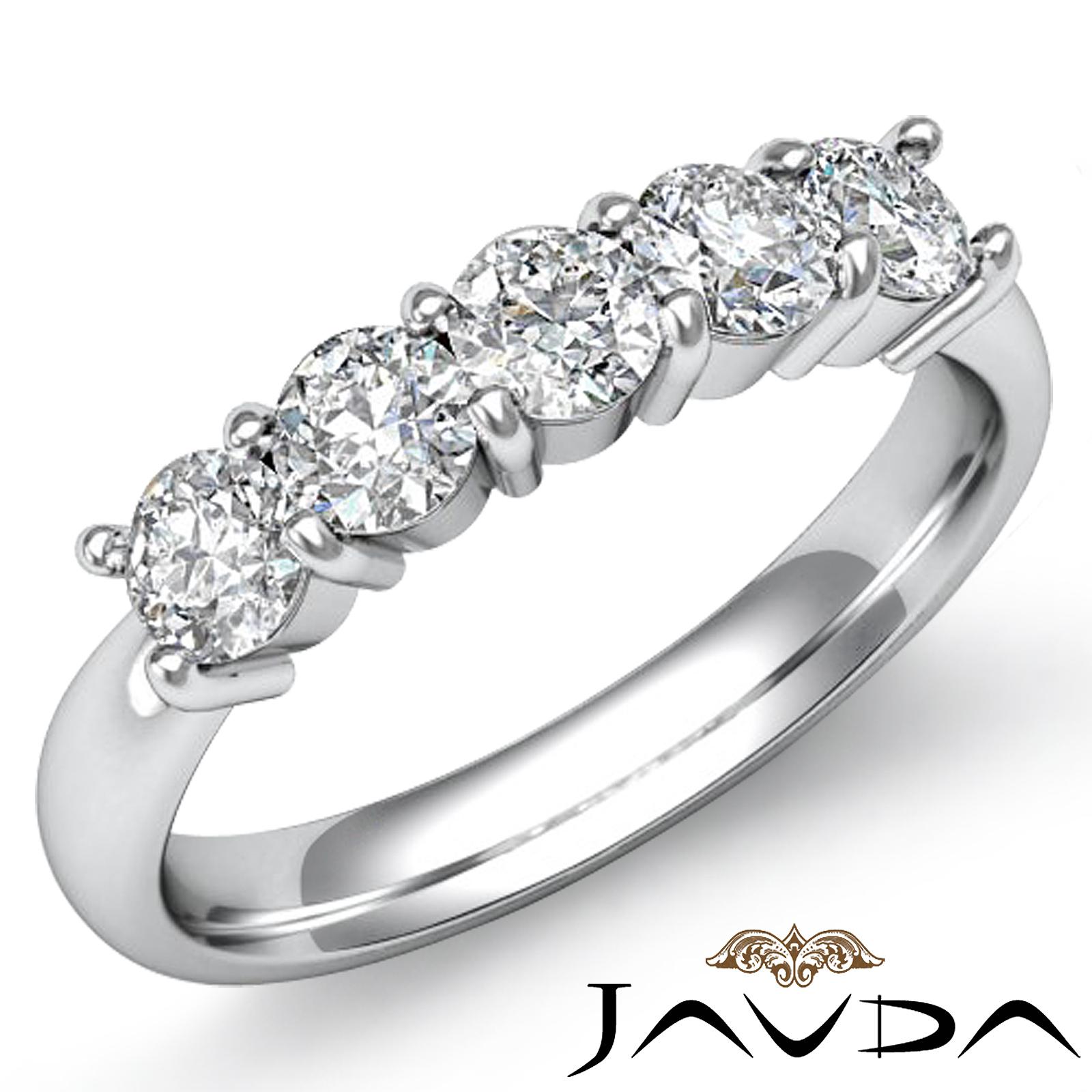 stone round prong diamond women 39 s half wedding band 14k white gold