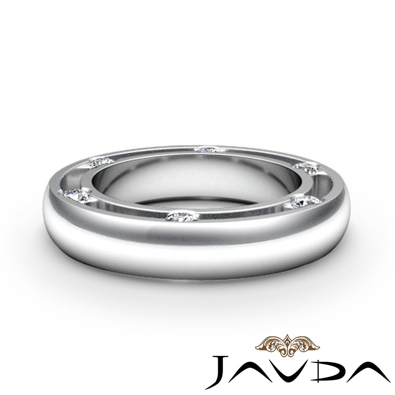 Round Bezel Diamond Mens Ring Eternity Wedding Solid Band 14k White Gold 025Ct