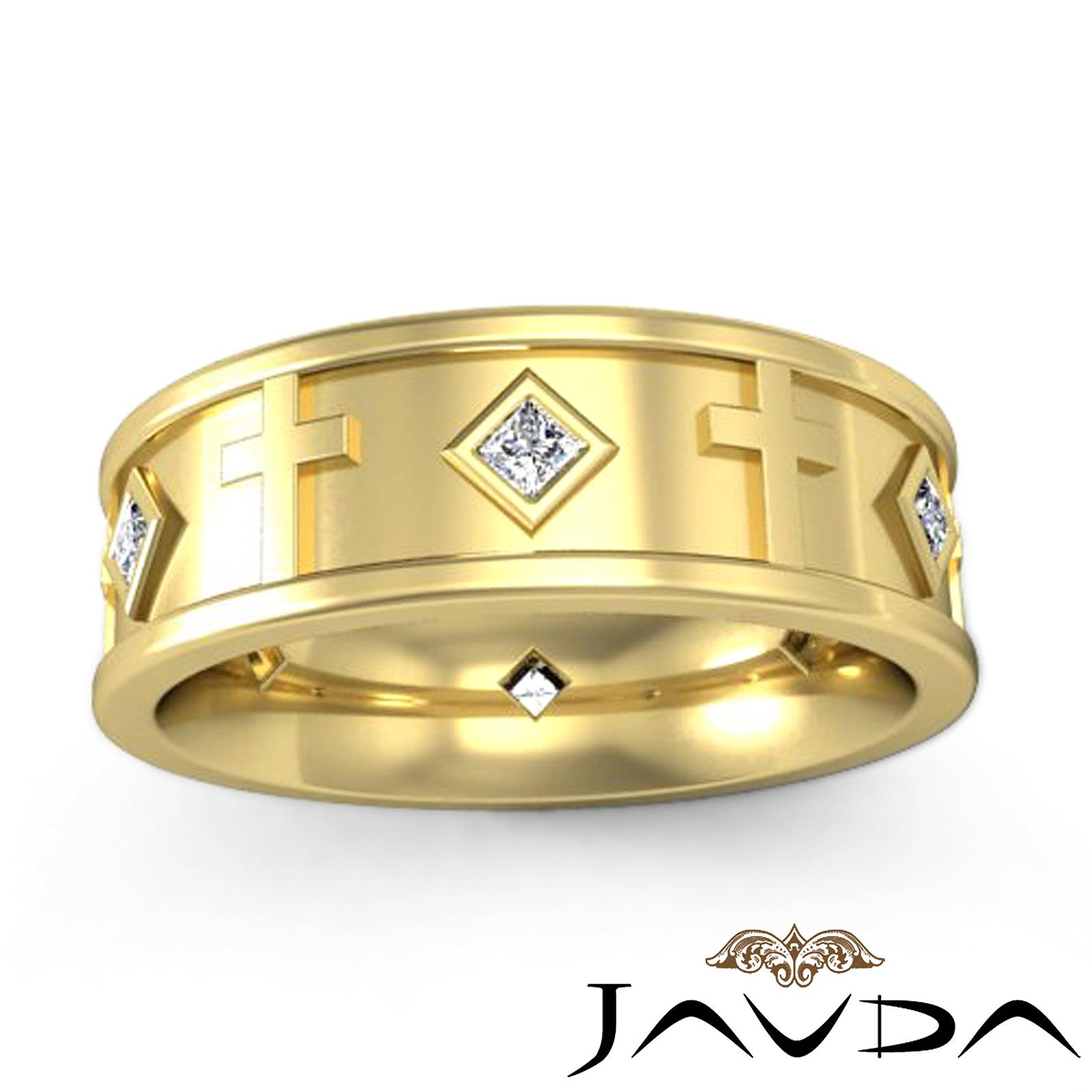 Princess Diamond Mens Ring 14k Yellow Gold Cross Eternity Wedding Band 030Ct