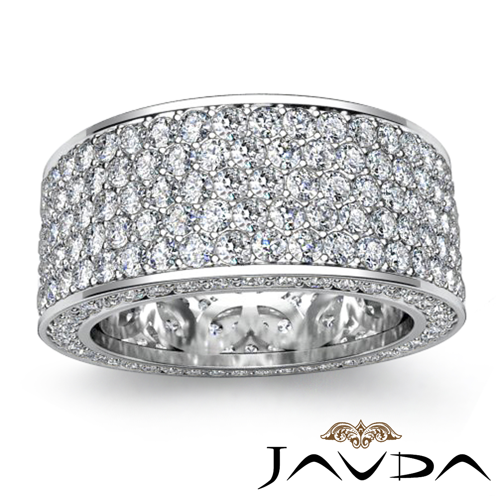 White Gold Bands: Womens Eternity 5 Row Band Pave Set Diamond Engagement