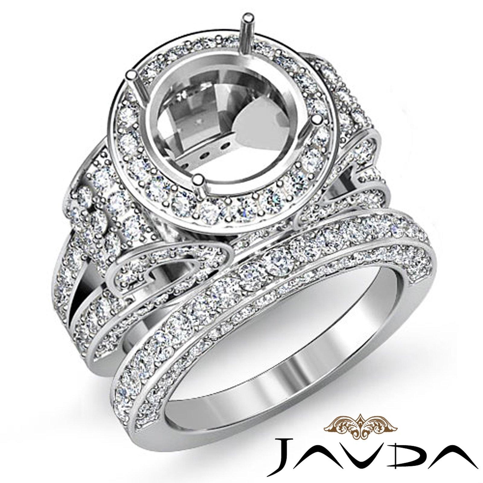 Diamond Engagement Ring Round Halo Pave Setting Bridal Set