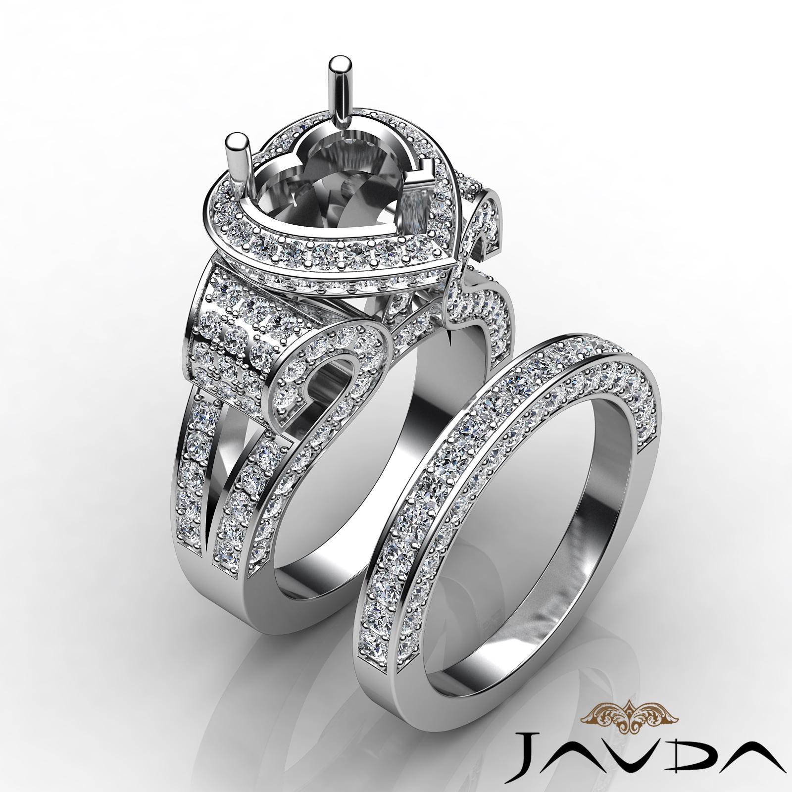 Diamond Engagement Ring Heart Halo Pave Setting Bridal Set