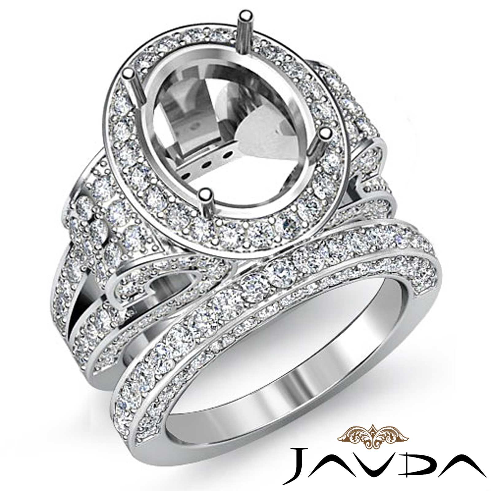 Diamond Engagement Semi Mount Ring Oval Pave Bridal Sets