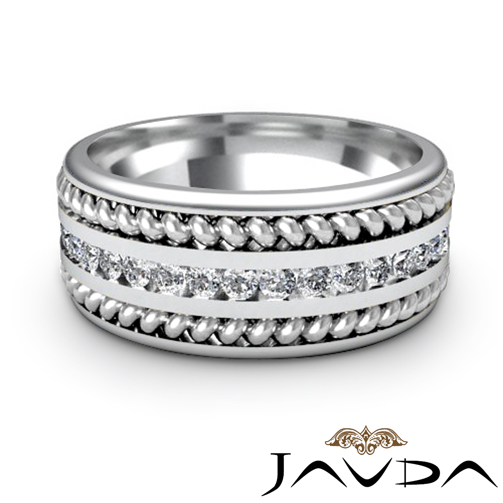 Pave diamond rope eternity solid ring mens wedding for Mens eternity wedding band