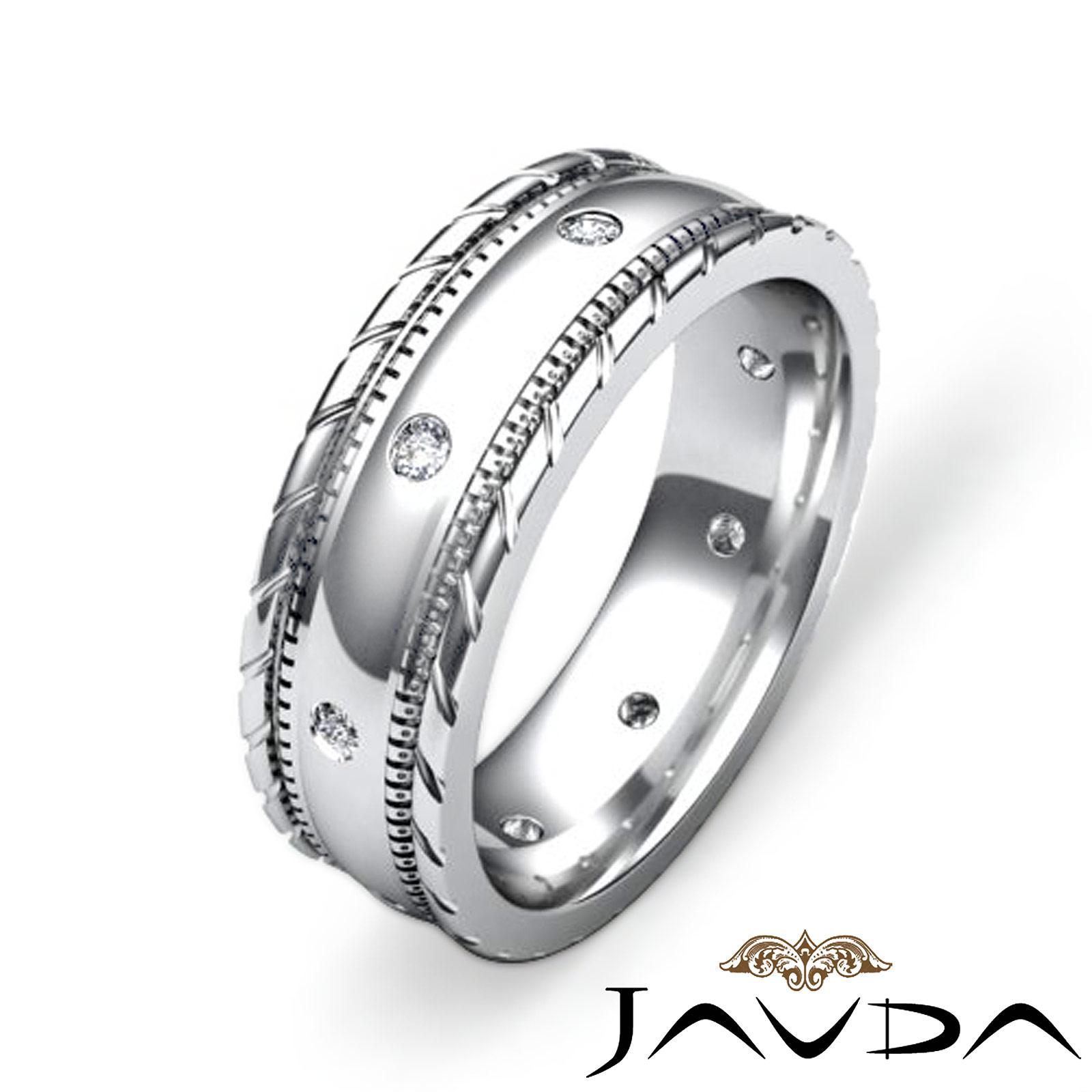 Mens diamond solid ring eternity wedding band cut edges for Mens eternity wedding band
