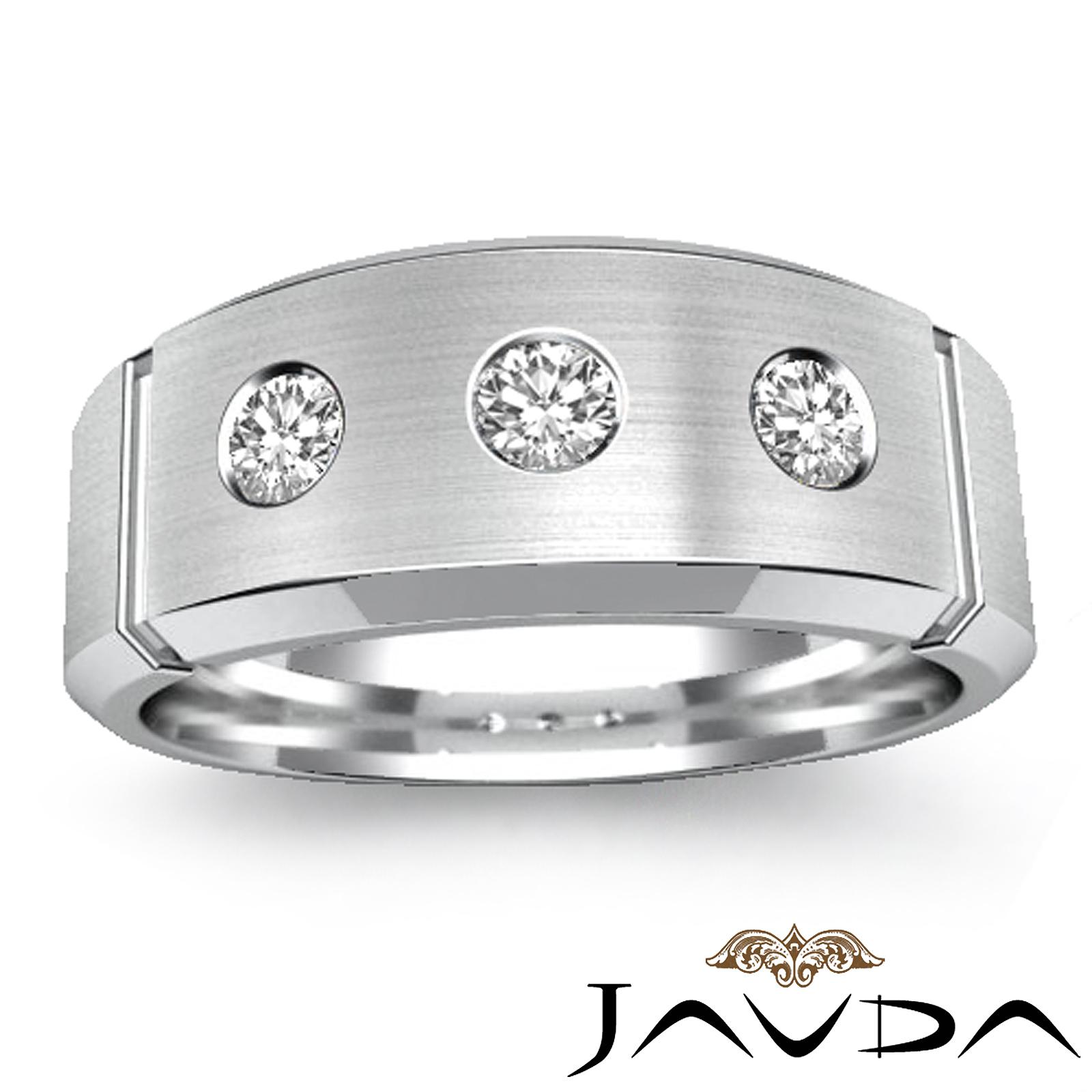 8mm Mens Half Wedding Band 3 Stone Round Bezel Diamond Ring