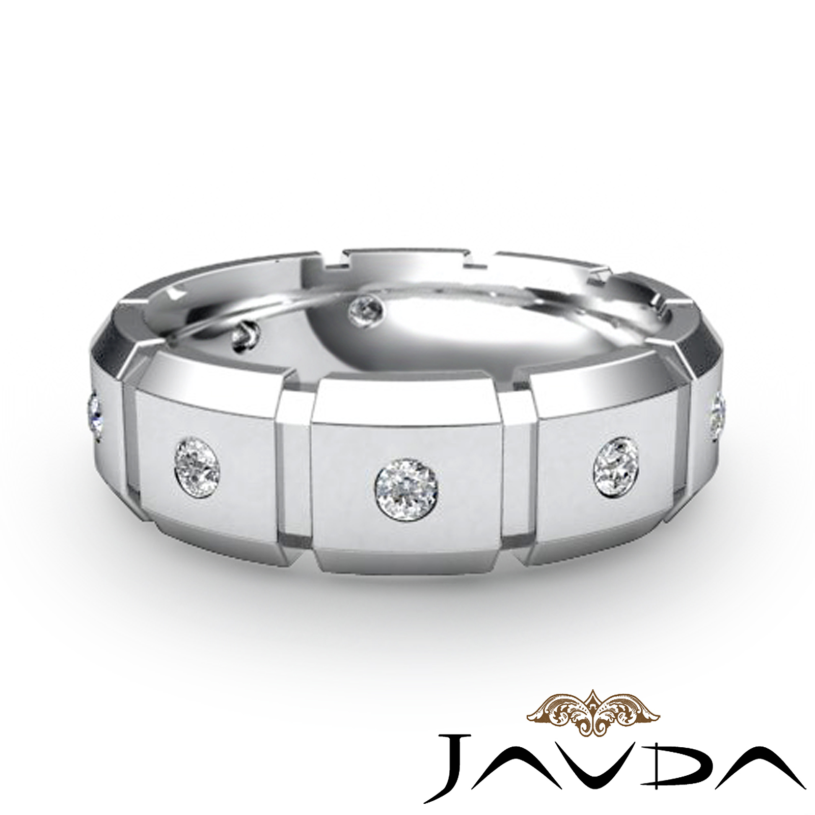 round diamond ring men block link eternity wedding band 14k white gold ebay. Black Bedroom Furniture Sets. Home Design Ideas