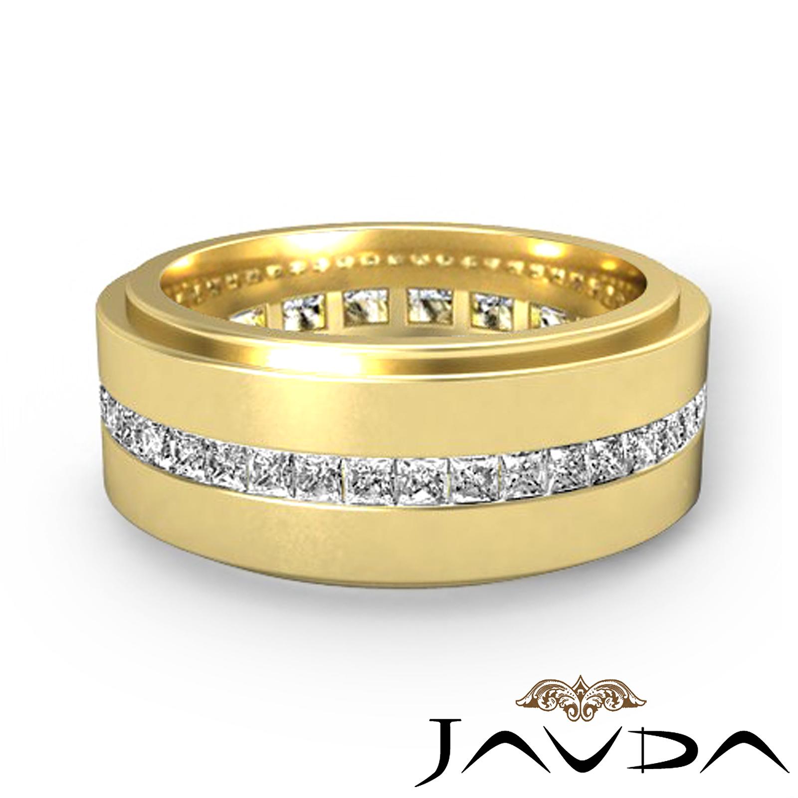 Channel Princess Diamond Ring 18k Yellow Gold Mens Eternity Wedding Band 17Ct
