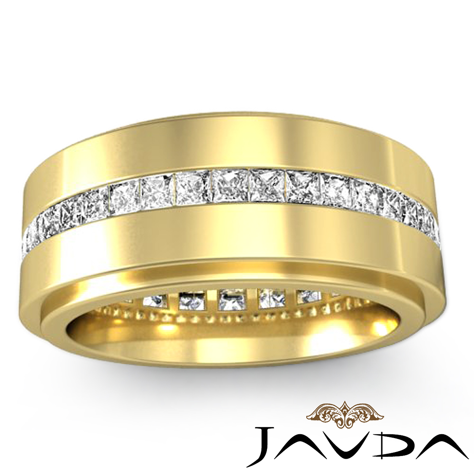 Channel princess diamond ring 18k yellow gold mens for Mens eternity wedding band