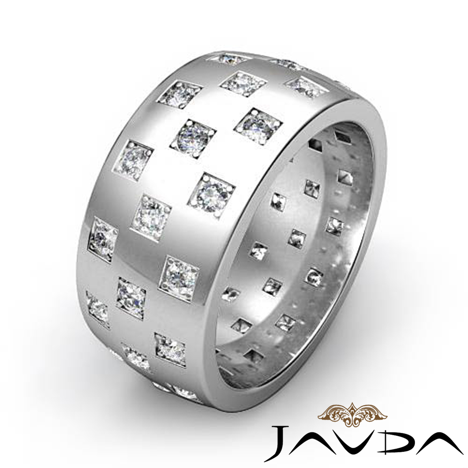 Checkered Design Men's Diamond Eternity Wedding Band 14k