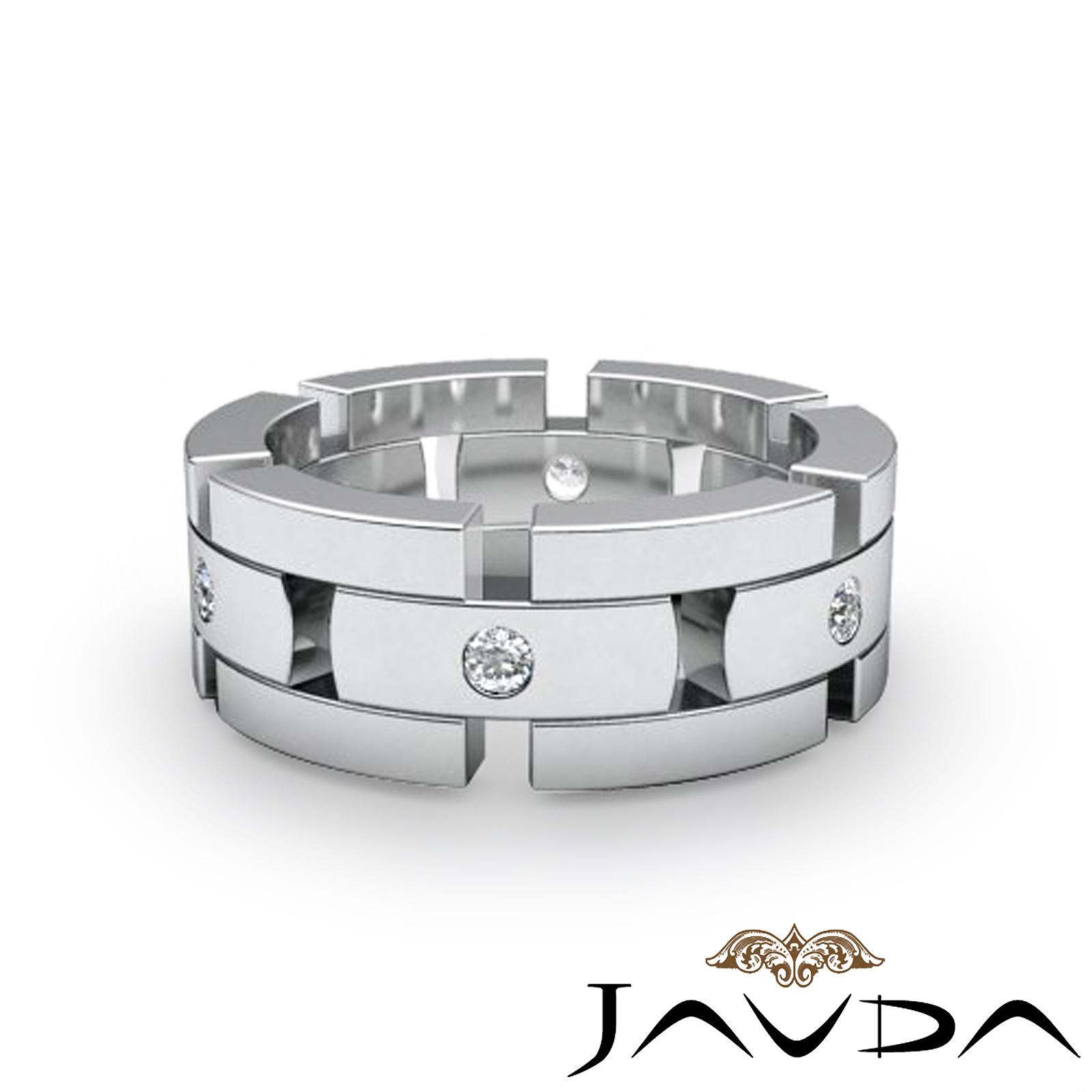 men block link eternity wedding band round diamond ring 14k white gold. Black Bedroom Furniture Sets. Home Design Ideas