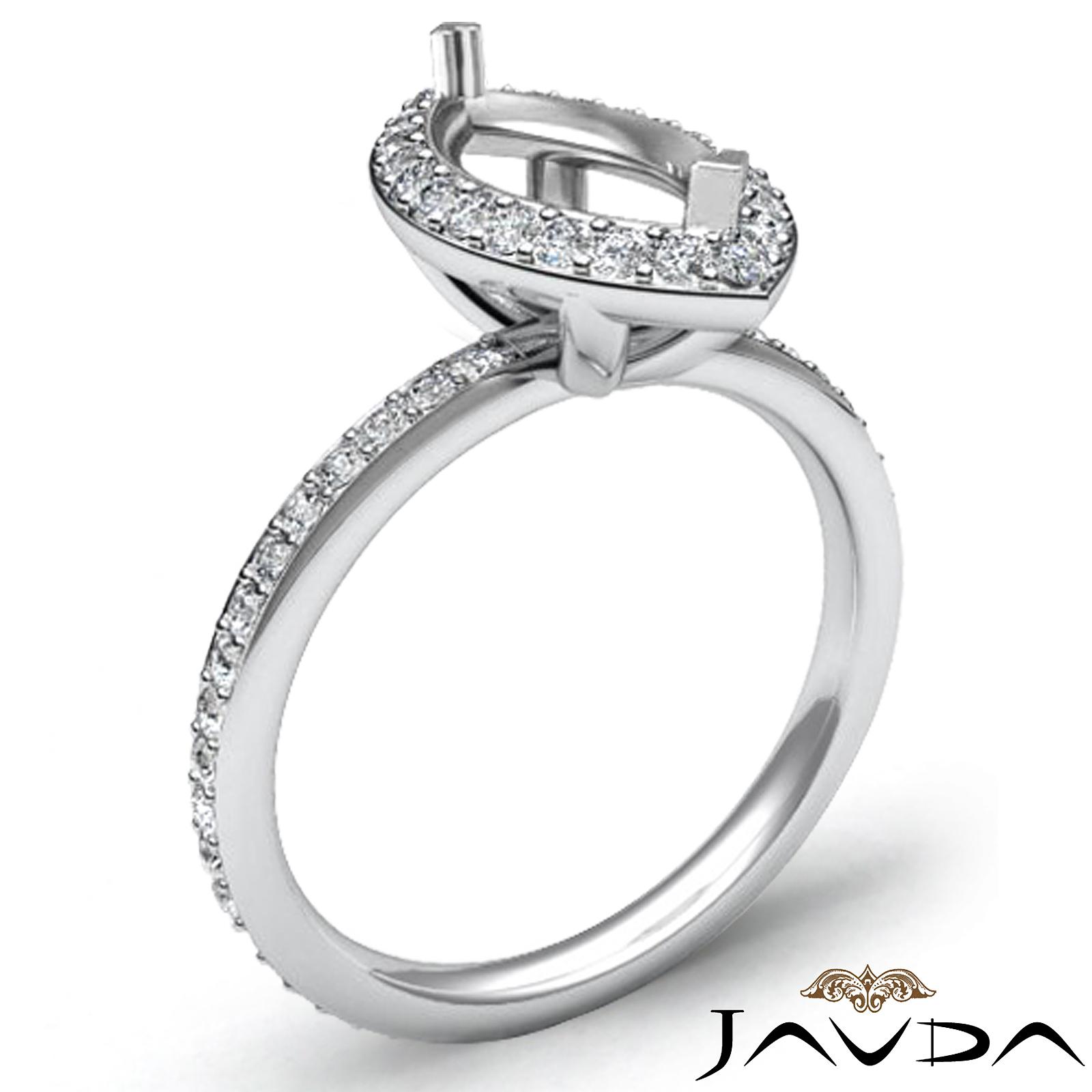 Diamond Engagement Marquise Shape Ring 18k White Gold Halo Setting Semi Mount