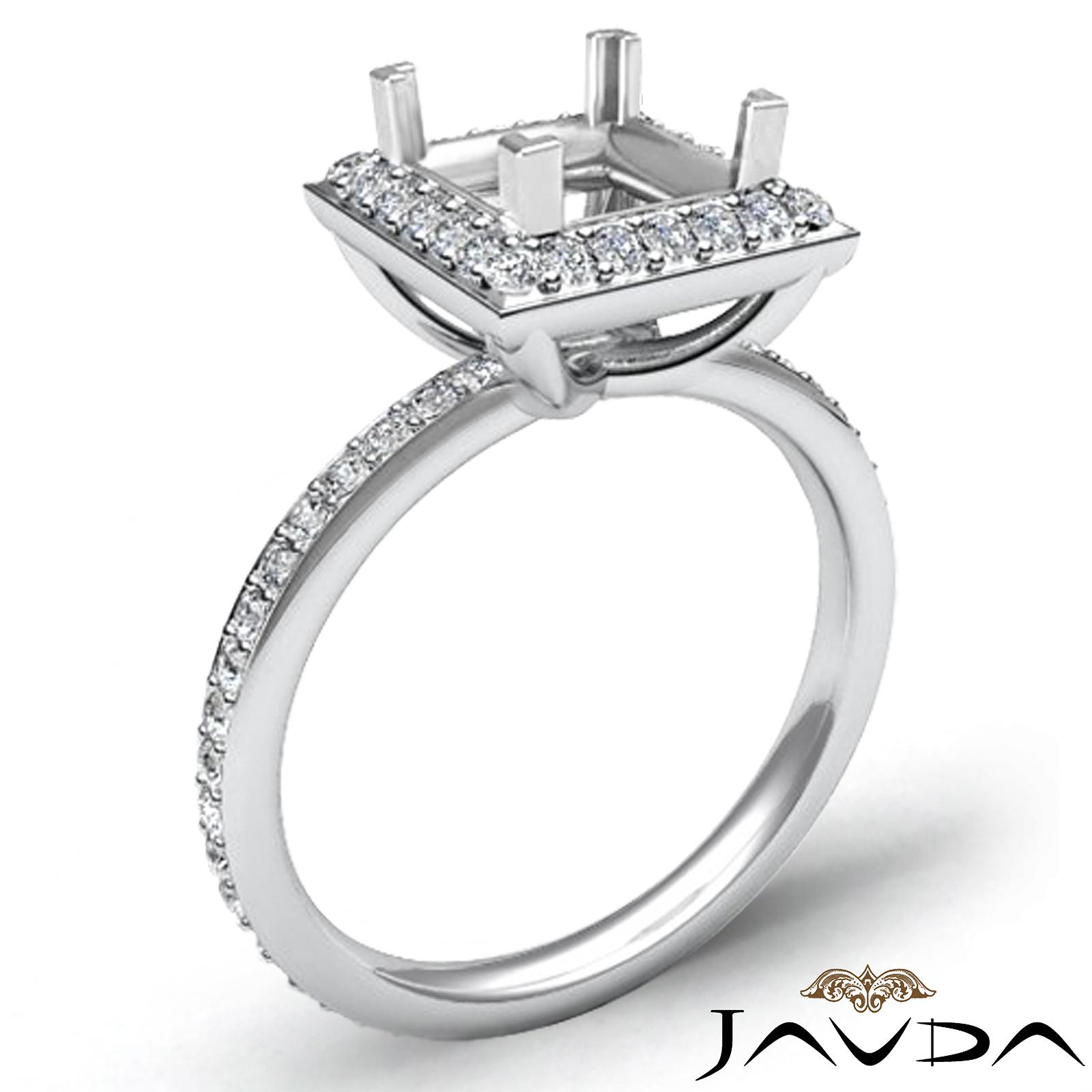 Diamond Engagement Ring Princess Cut Semi Mount Platinum Halo Setting 1Ct tw