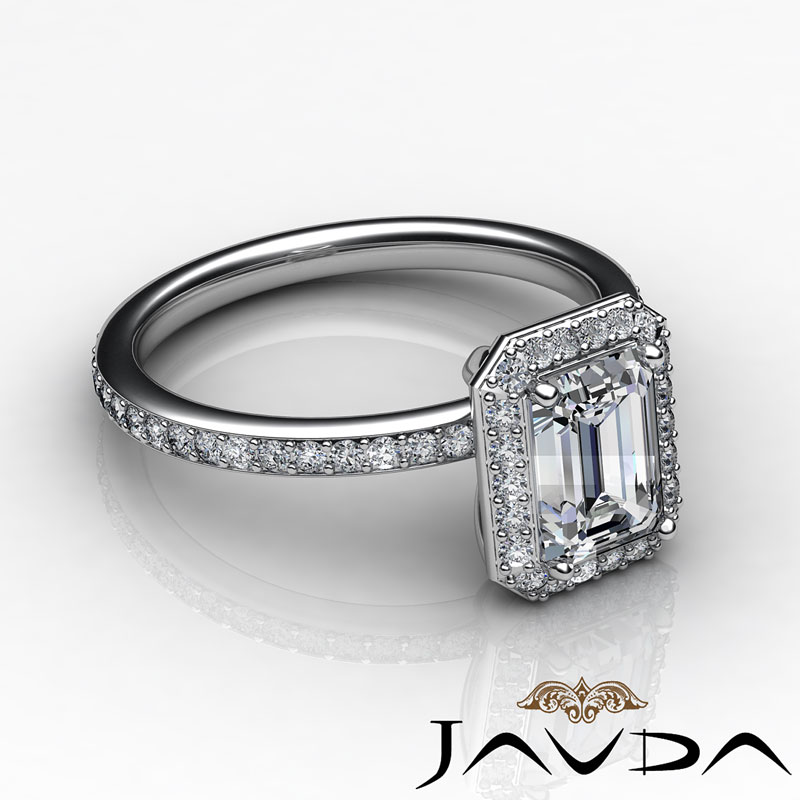 emerald cut halo vintage engagement ring g si1