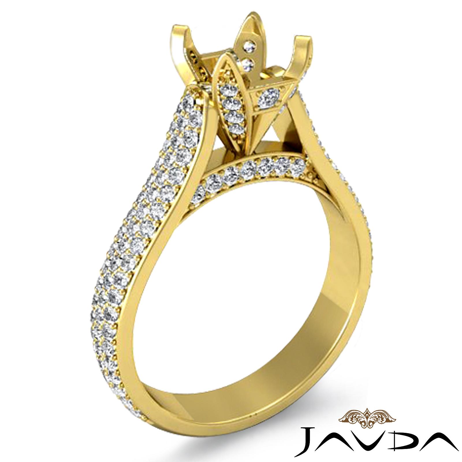 Halo Pave Setting Diamond Engagement Round Semi Mount Ring 18k Gold Yellow 1