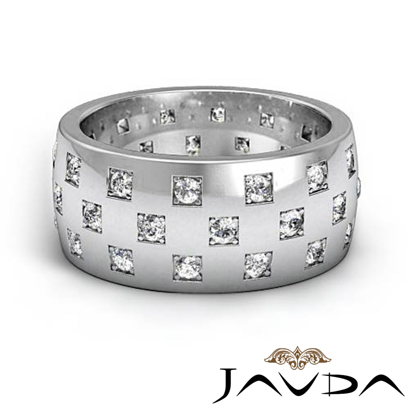 Round Diamond Mens 94mm Eternity Wedding Band Solid Ring Platinum 135Ct Tw