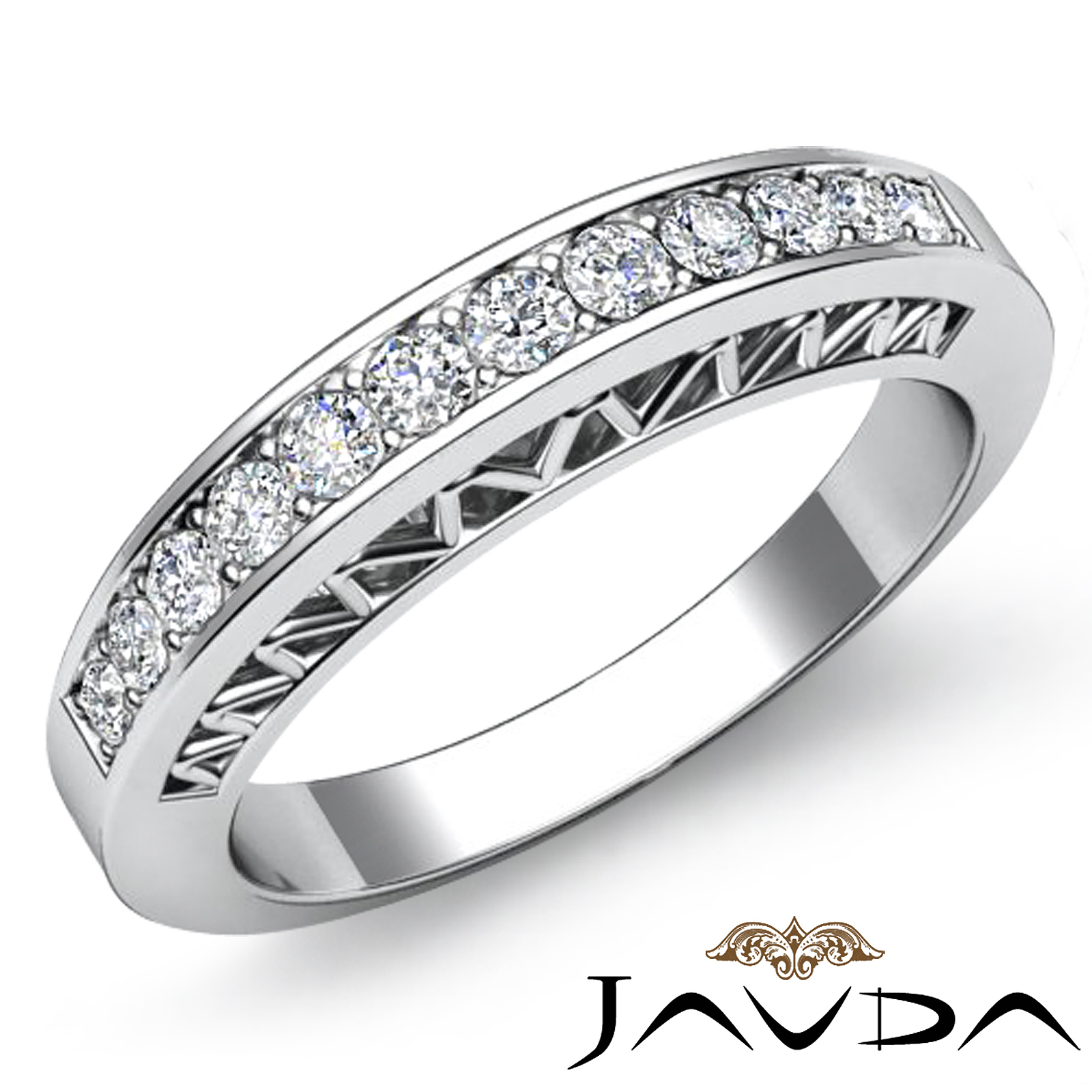 Pavé Bands: Womens Half Wedding Band Platinum Pave Set Diamond Unique
