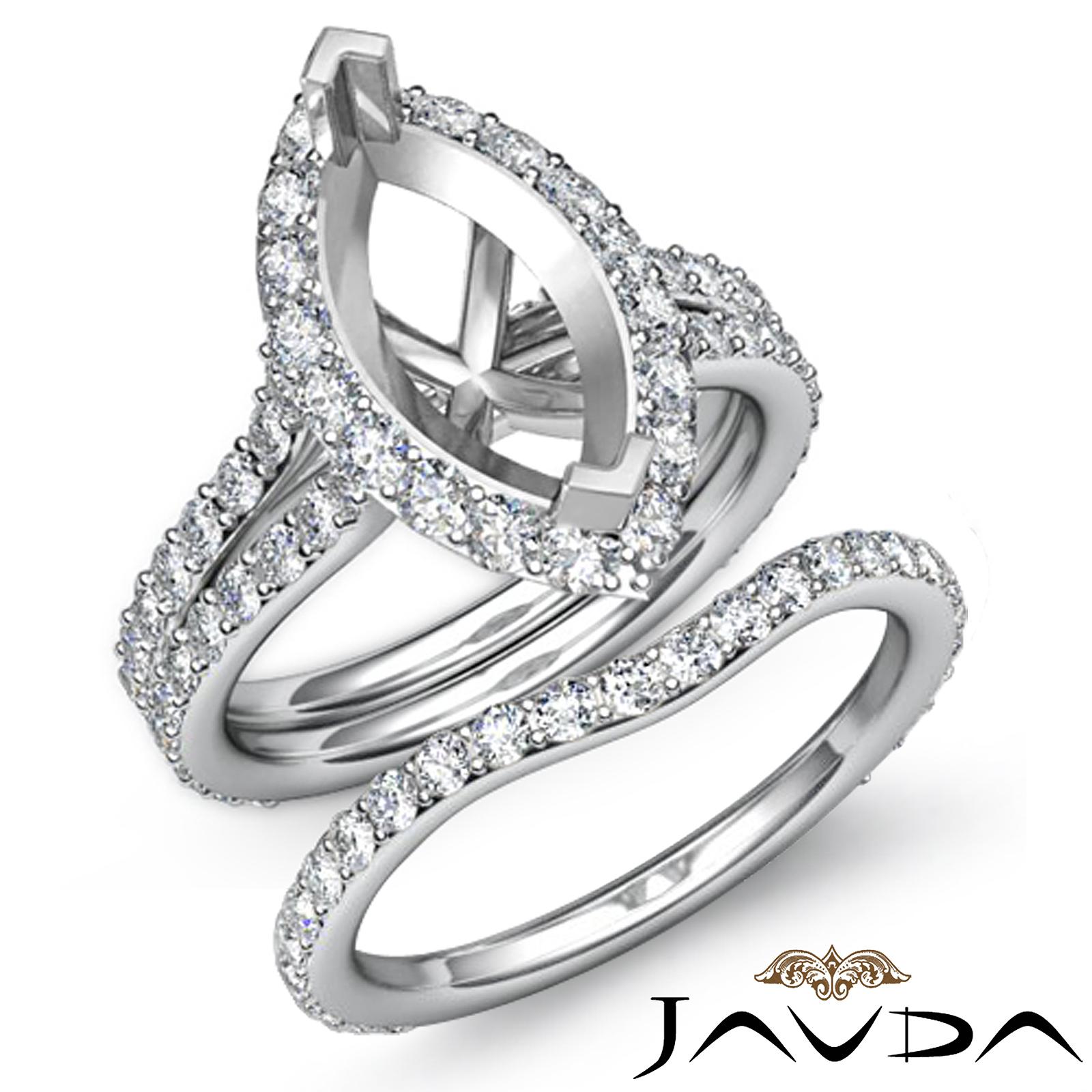 Marquise Diamond Semi Mount Engagement Wedding Ring Bridal Set Platinum 950 1