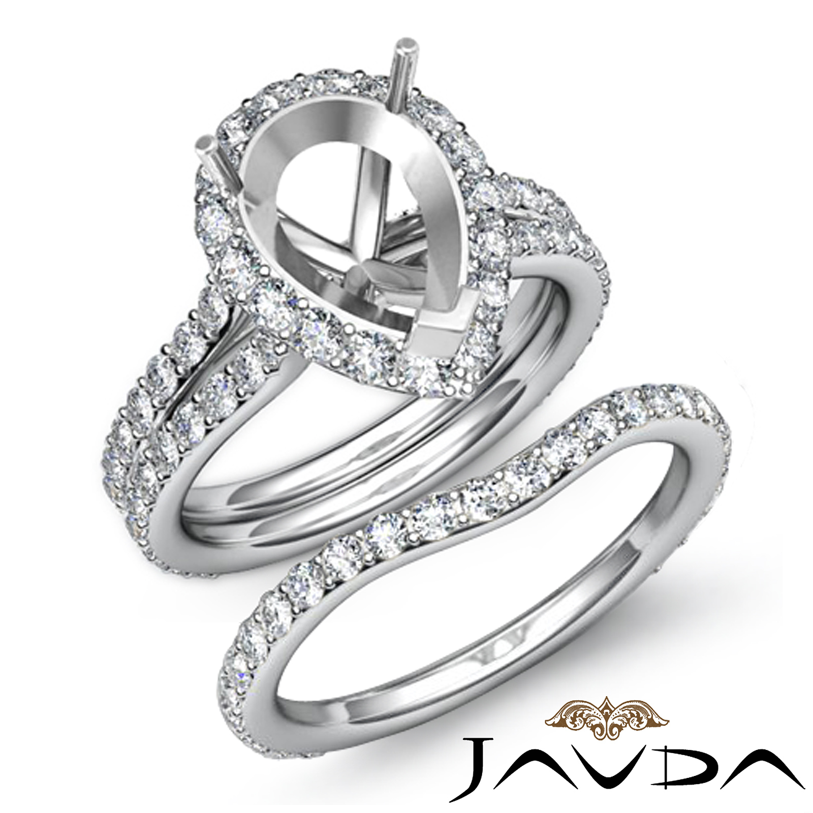 Pear Halo Diamond Semi Mount Engagement Wedding Ring
