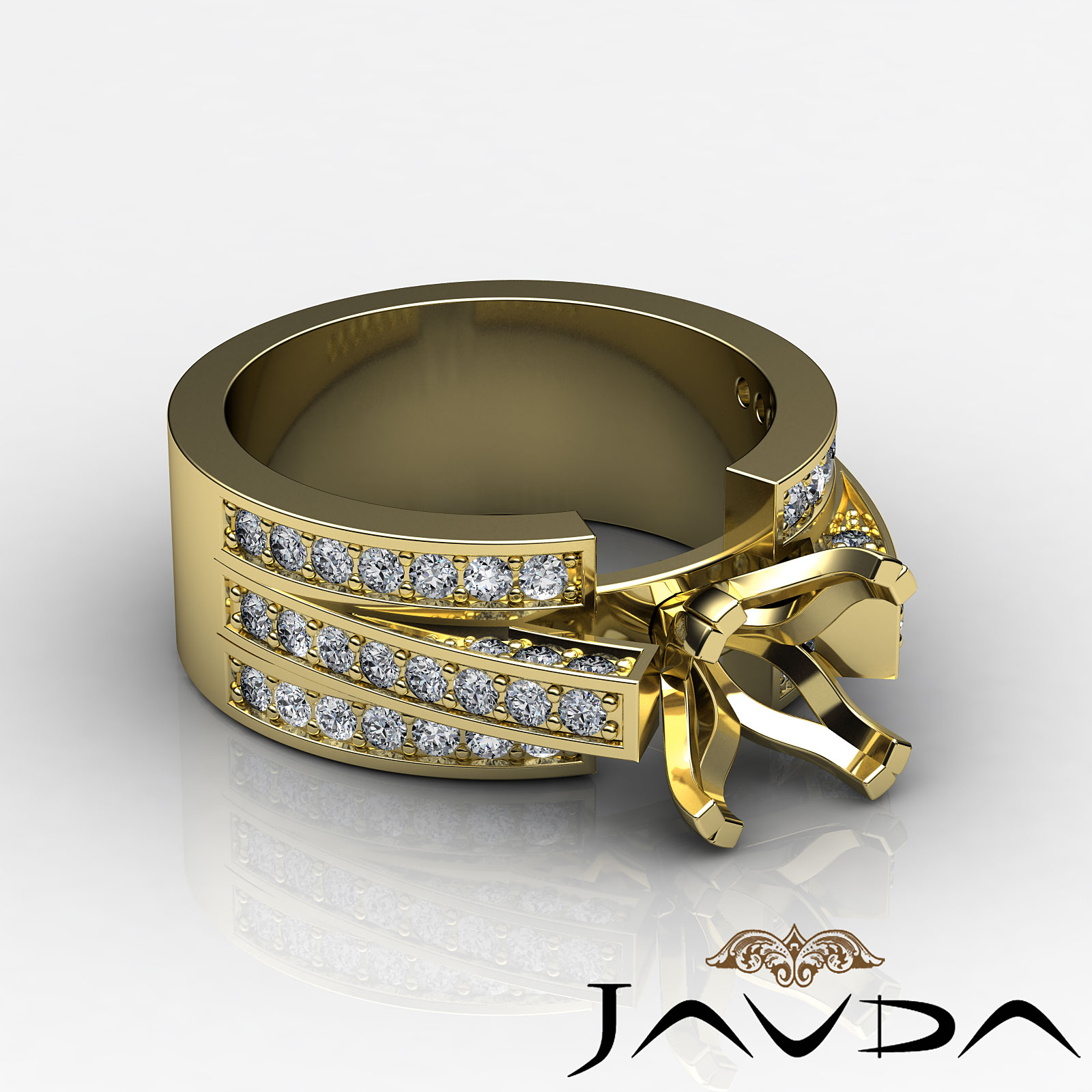 Diamond Princess Semi Mount Engagement Ring Pave Setting 14k Yellow Gold 1 25