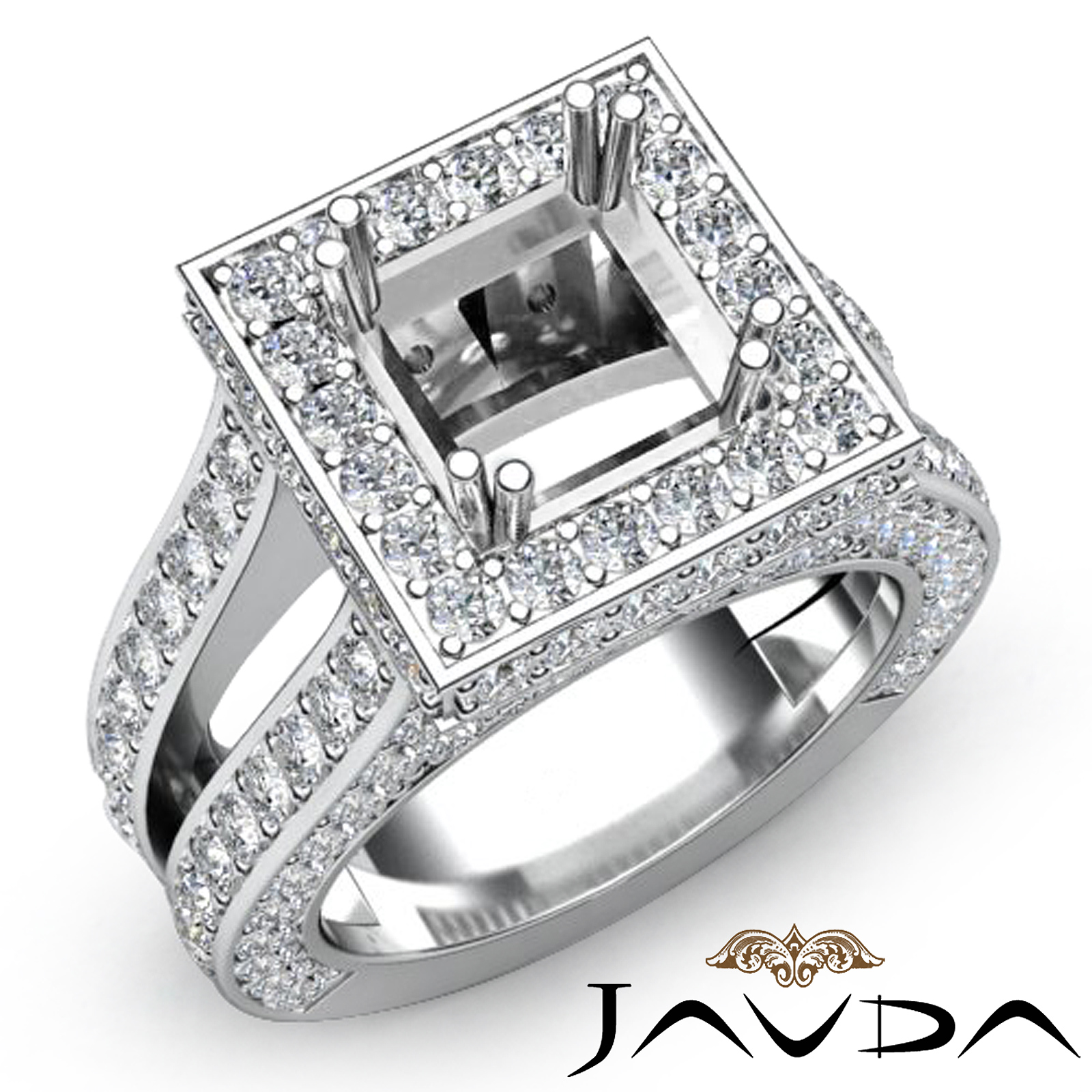 Diamond Engagement Ring Princess Shape Semi Mount Platinum Halo