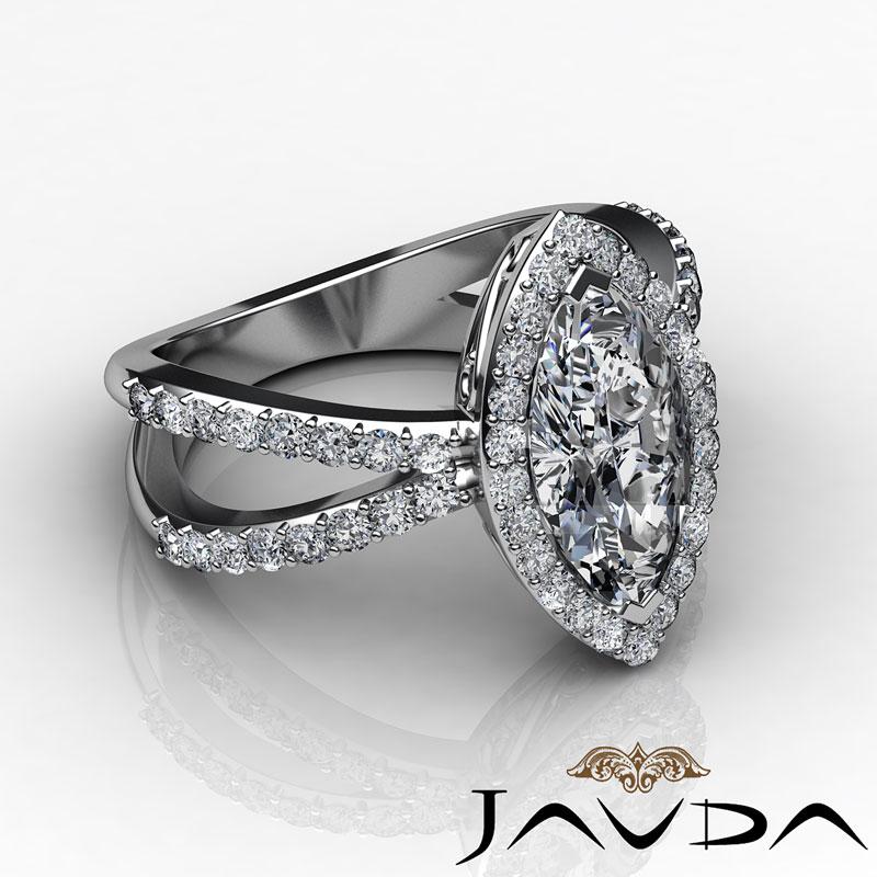 Marquise Diamond Engagement Unique Split Shank Ring GIA I VS2 Platinum 1 75 c