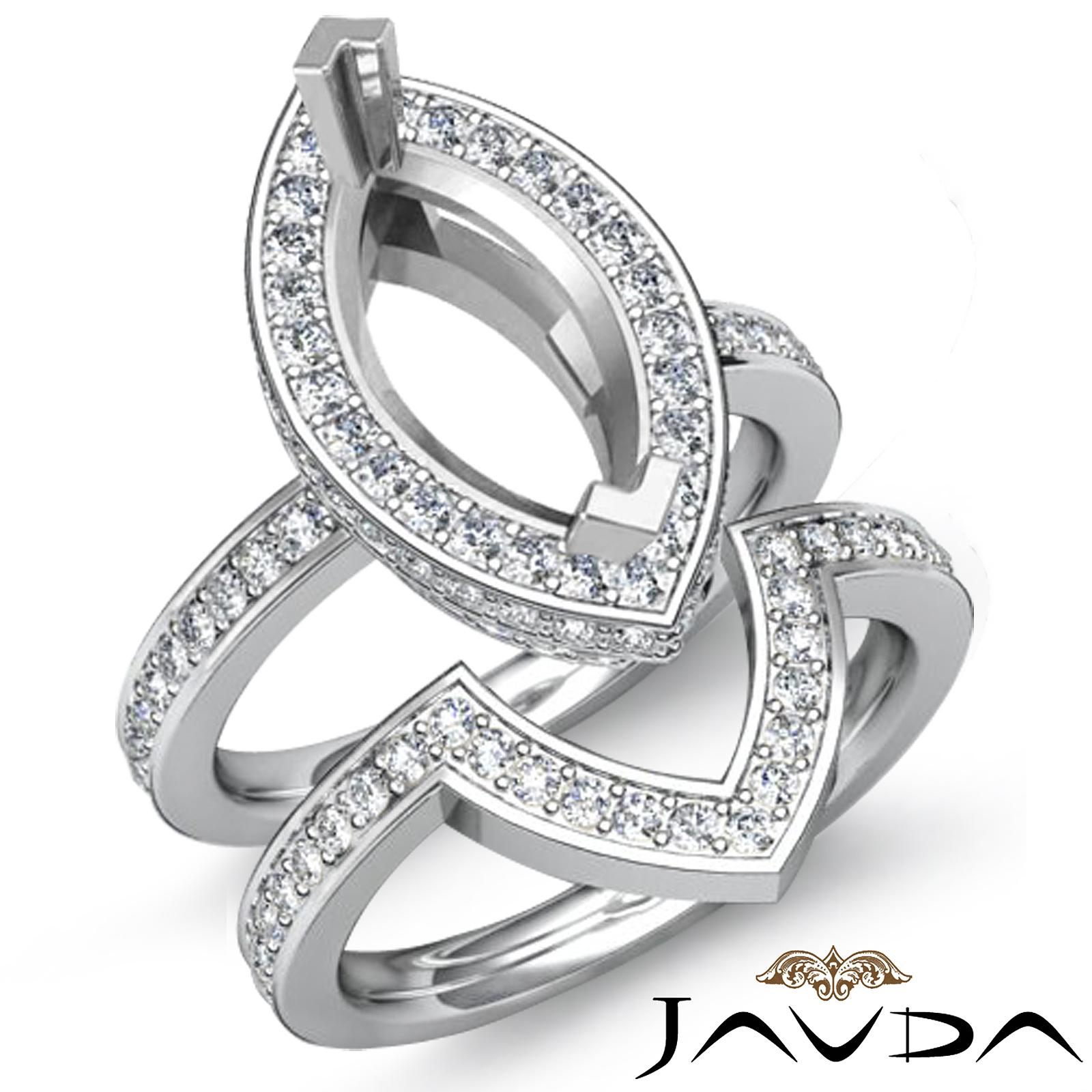 Marquise Ring Bands: Diamond Marquise Wedding Band Semi Mount Ring Platinum 950