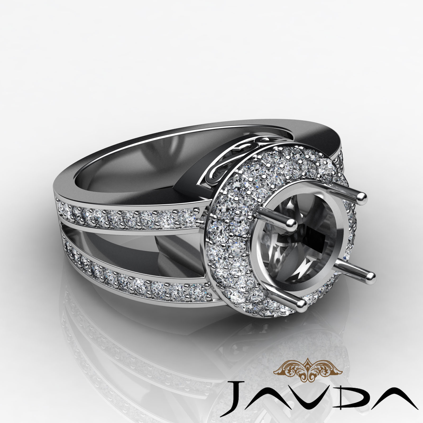 Halo pave diamond anniversary filigree ring platinum