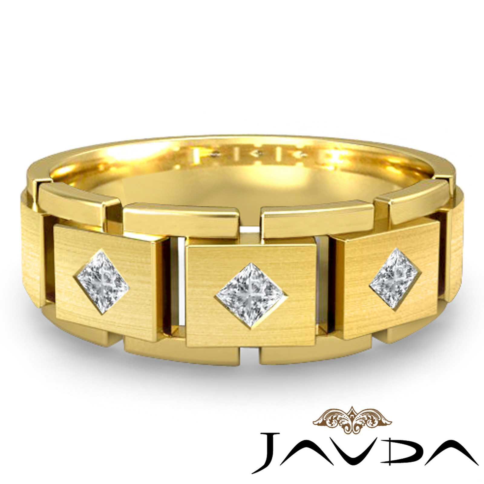 block link band 18k yellow gold princess diamond mens wedding ring 0 3ct ebay. Black Bedroom Furniture Sets. Home Design Ideas