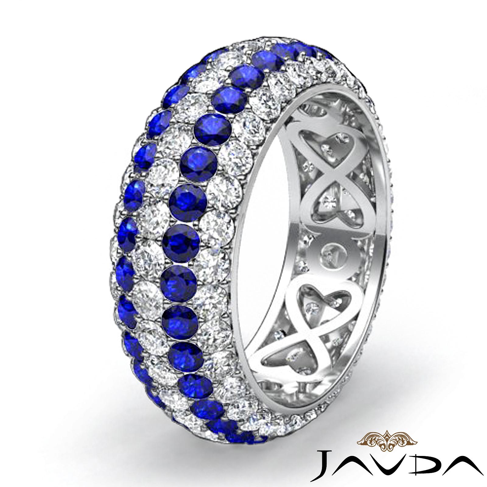 5 Row Eternity Womens Ring Sapphire Diamond Anniversary