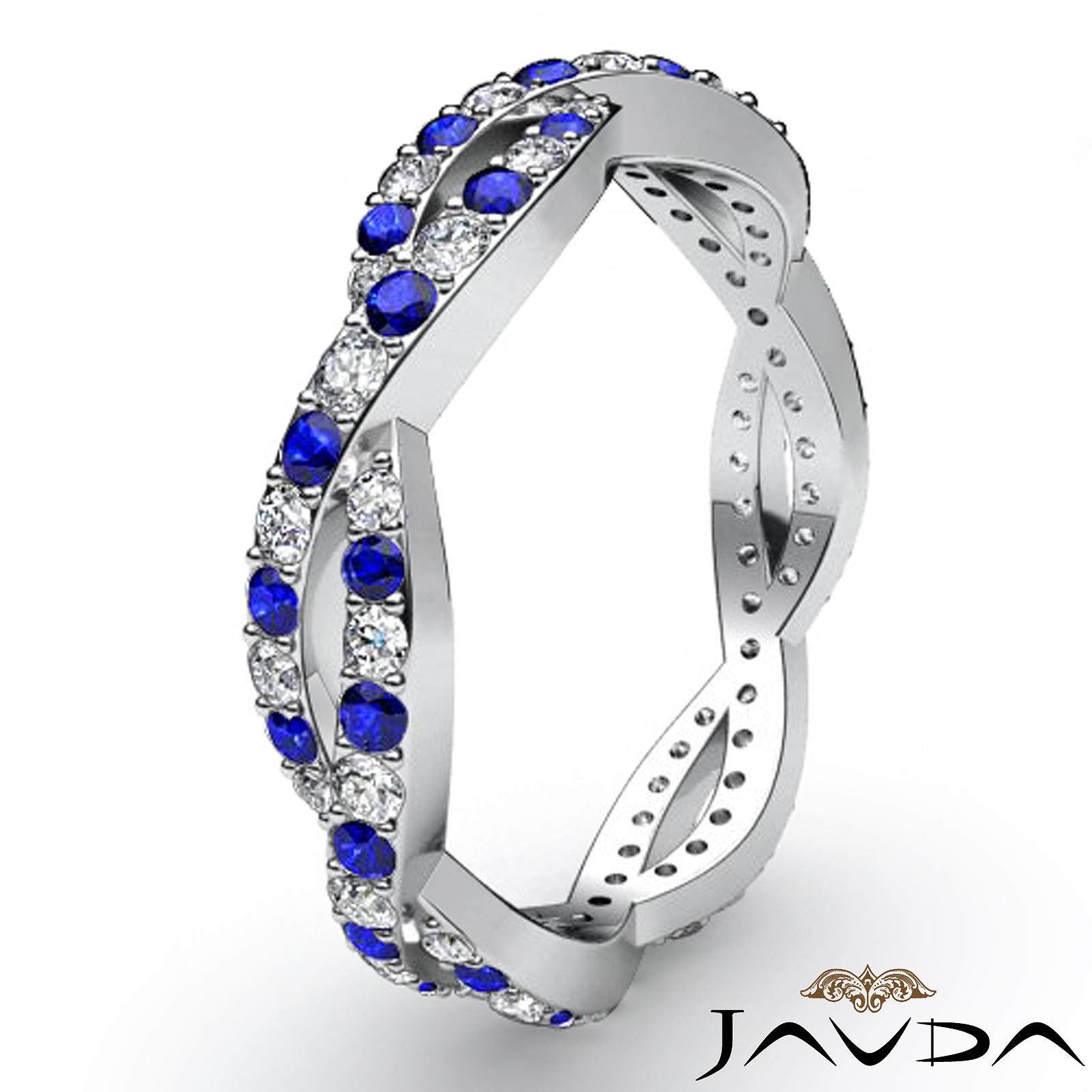 Round Sapphire Pave Diamond Eternity Wedding Band Women s Ring