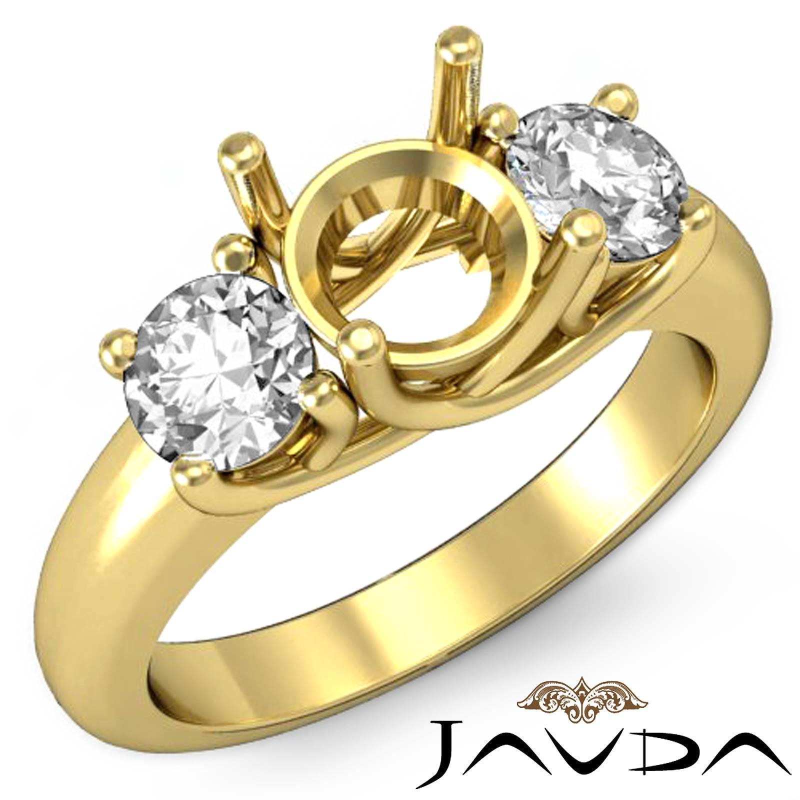 Diamond 3 Stone Engagement Trellis Ring 14k Yellow Gold ...