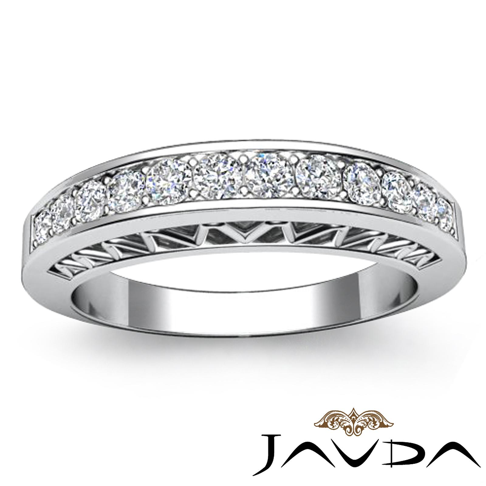 Womens Half Wedding Band Platinum Pave Set Diamond Unique Engagement Ring 025Ct