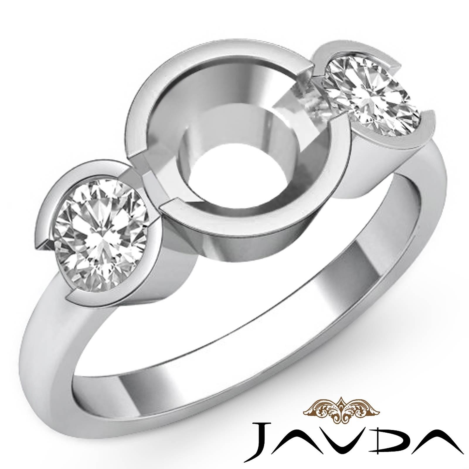 Round Diamond Three 3 Stone Engagement Ring Bezel Semi