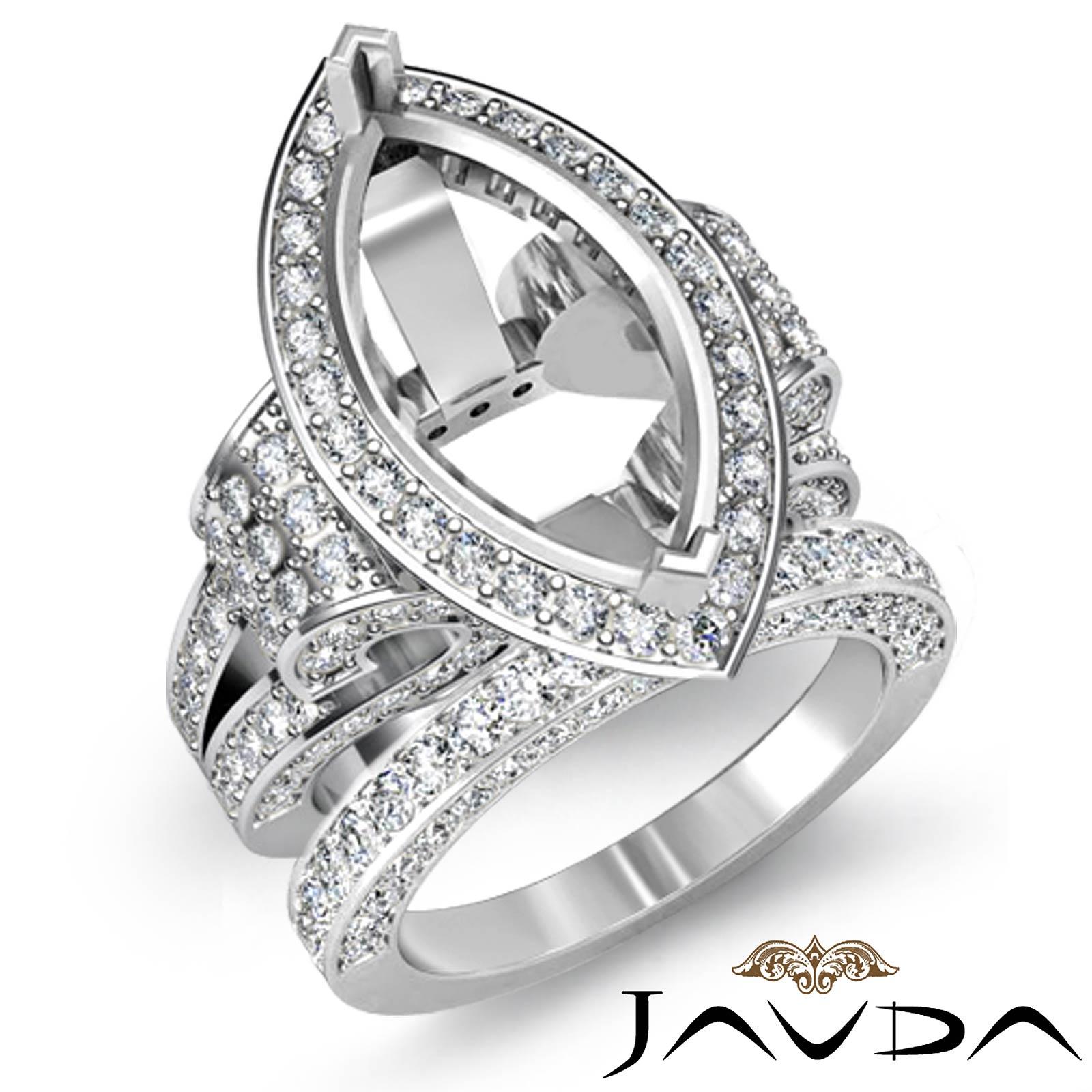 Diamond Engagement Ring Marquise Semi Mount Unique Bridal Set 14k White Gold