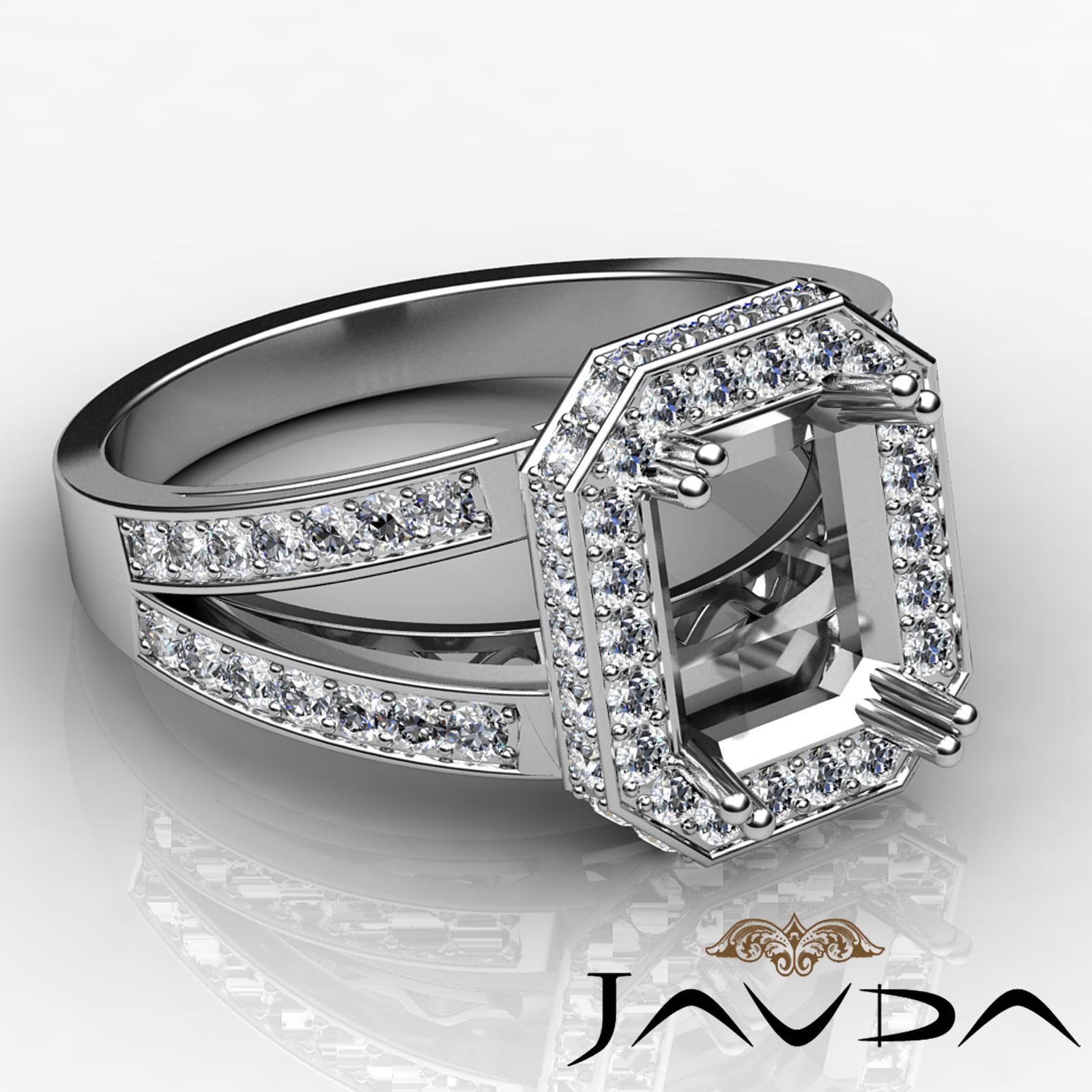 Emerald Cut Halo Diamond Engagement Rings: 14k White Gold Halo Pave Diamond Engagement Ring 0.84Ct