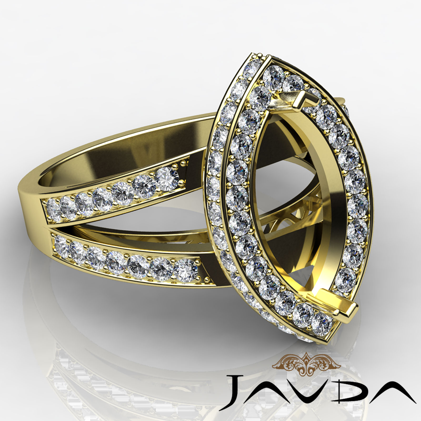 Diamond Engagement Ring Marquise Semi Mount 14k Gold Pave Setting (0.79Ct. tw.)